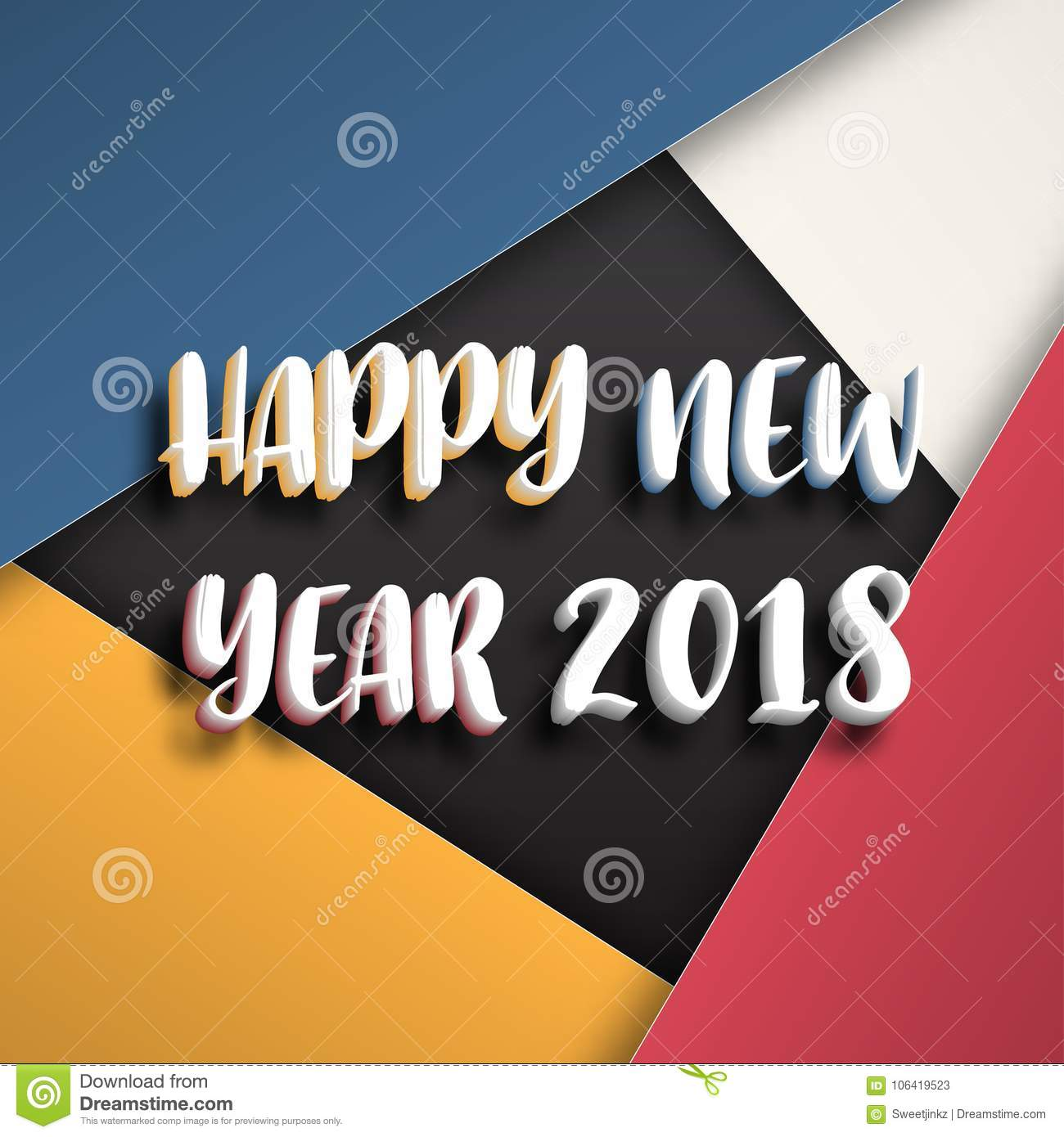 greeting card design template with modern text for 2018 new year