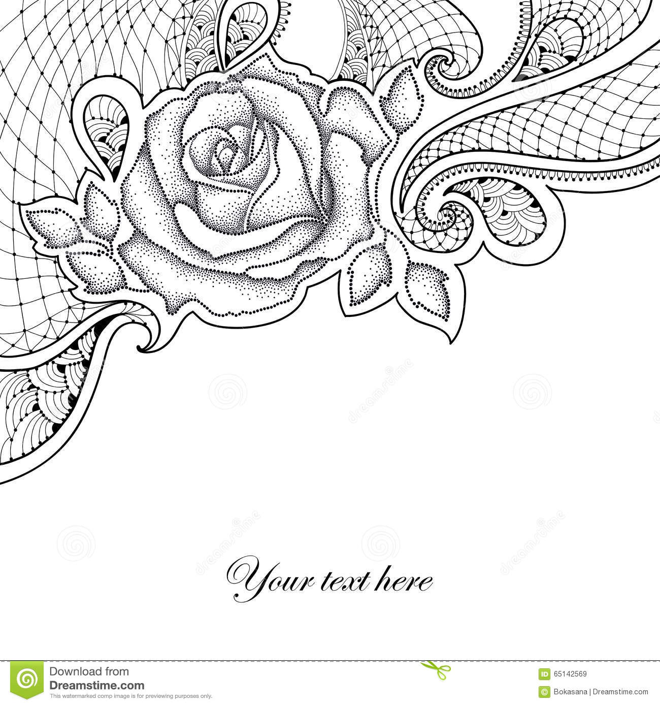 Black Flower Rose From Lace On White Background: Greeting Card With Dotted Rose With Leaves And Decorative