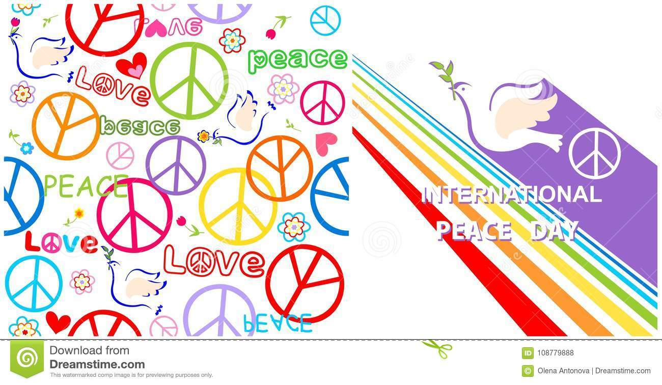 Greeting Card With Dove Peace Symbol And Rainbow For International
