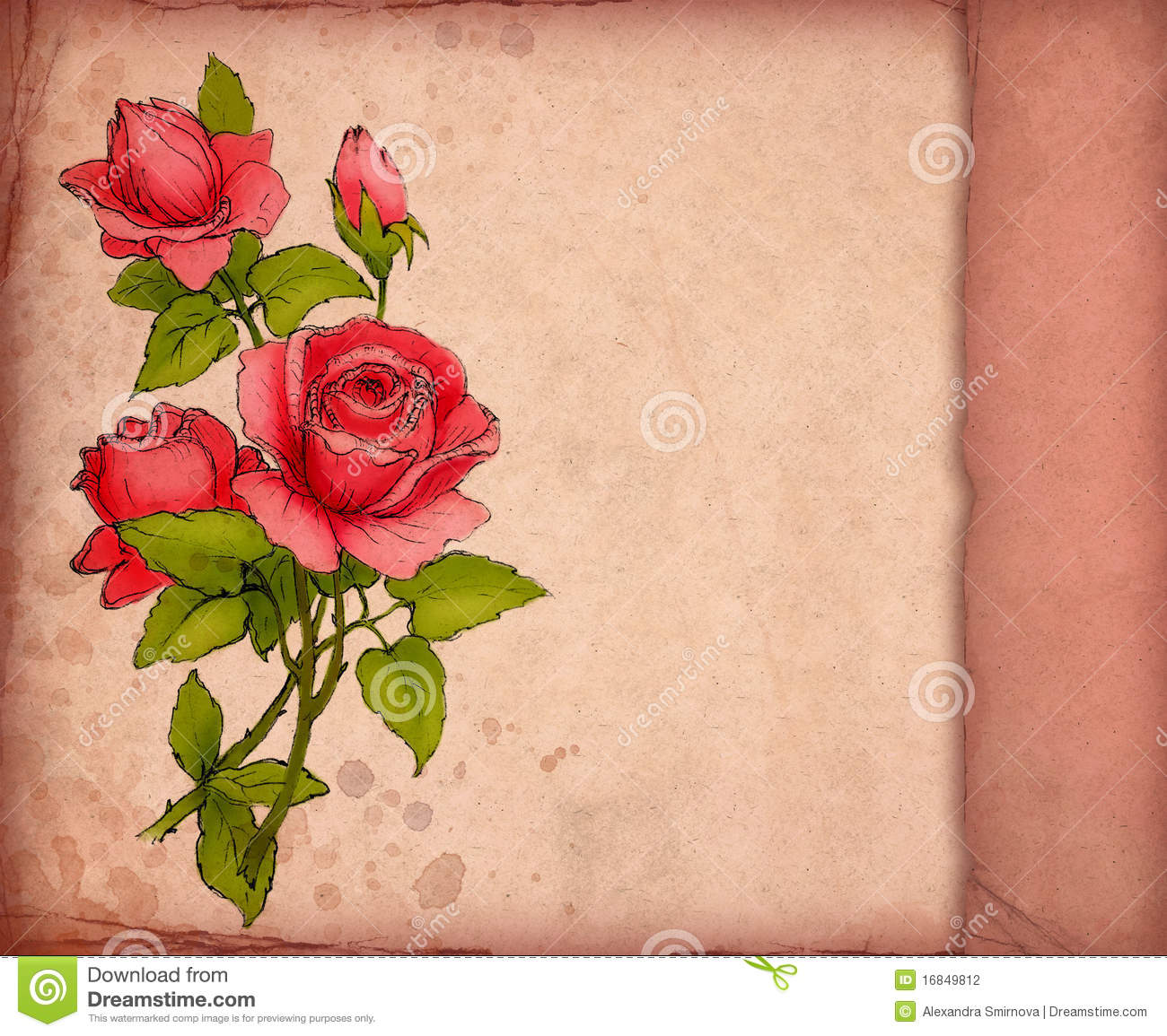 Greeting card with drawing of red rose stock illustration greeting card with drawing of red rose m4hsunfo