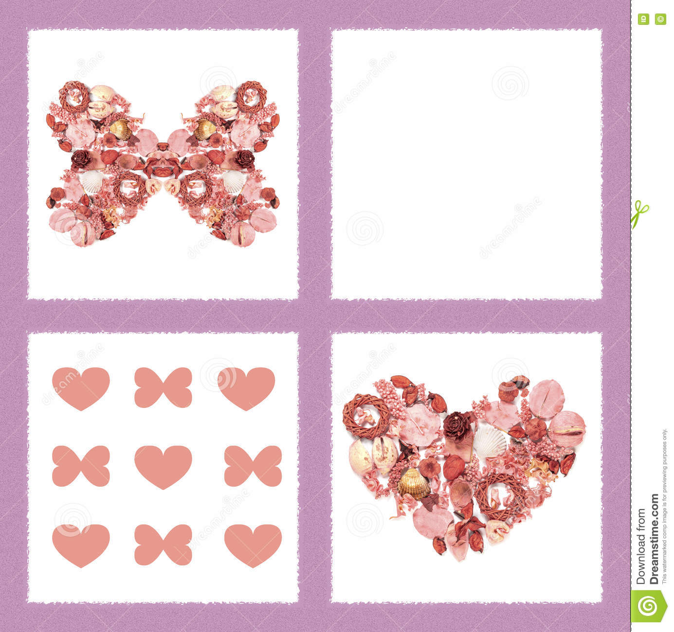 Greeting Card With Dried Flowers In Form Of Butterfly And Heart