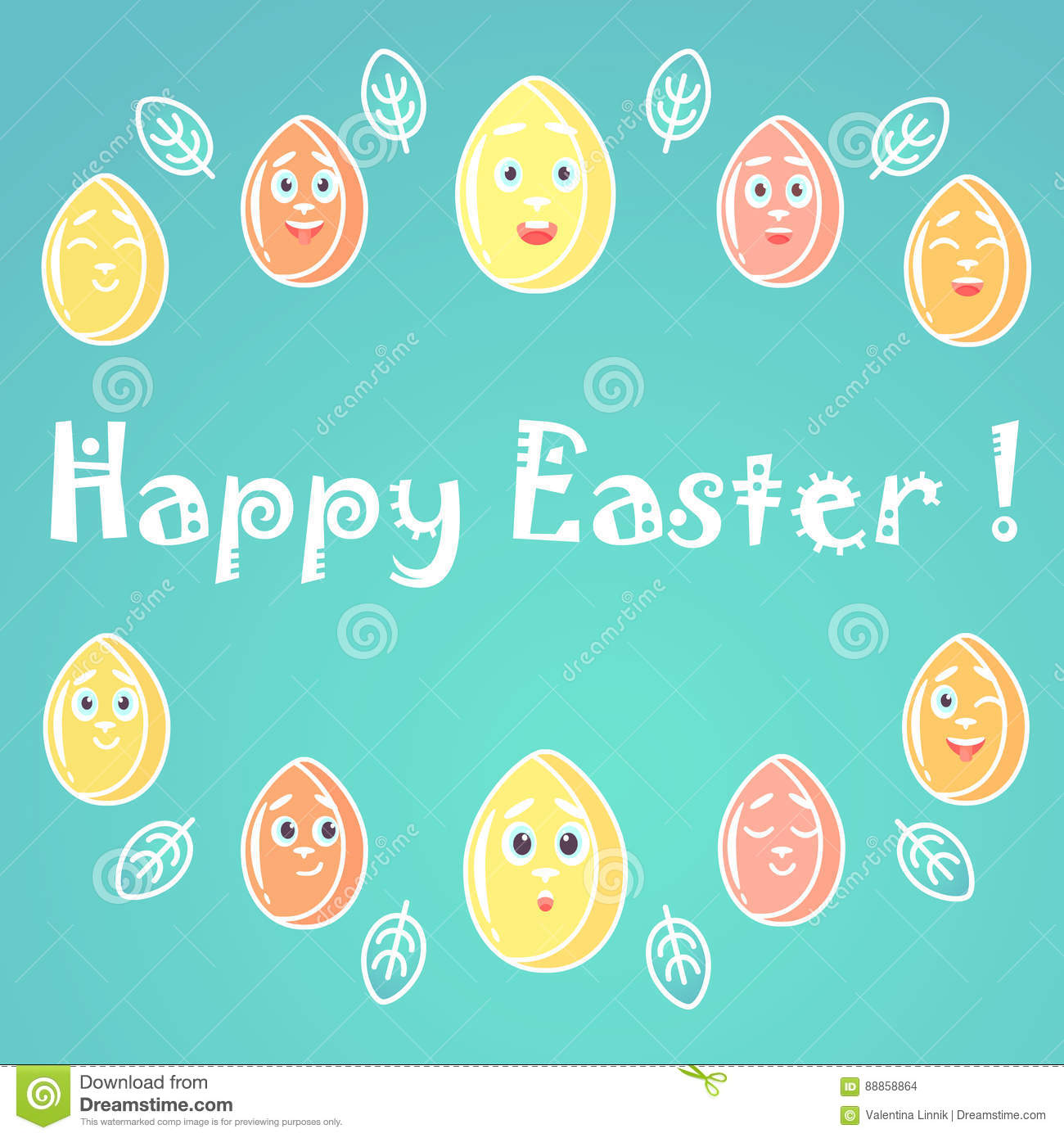 71eeb5626223 A greeting card for Easter, with emotional bright colored Easter eggs,  white lines for decoration. Royalty-Free Illustration