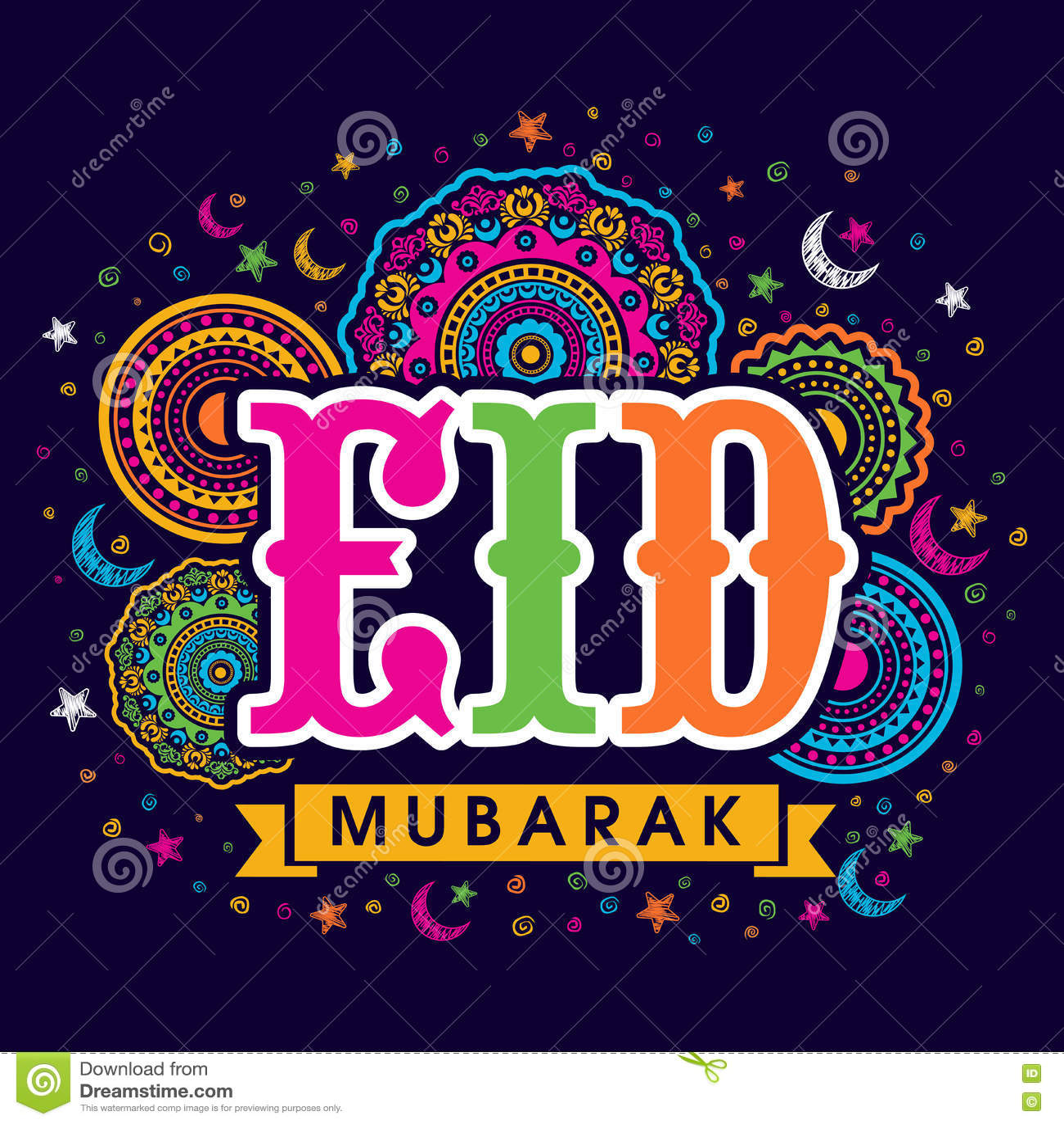 Greeting Card For Eid Mubarak Celebration Stock Illustration