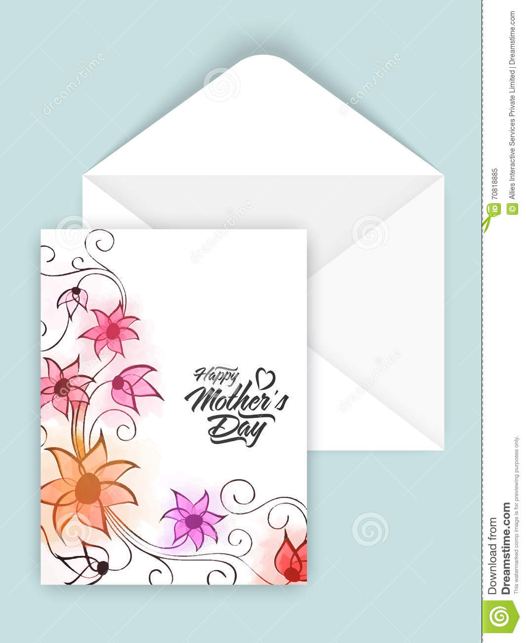 Greeting Card With Envelope For Mother S Day
