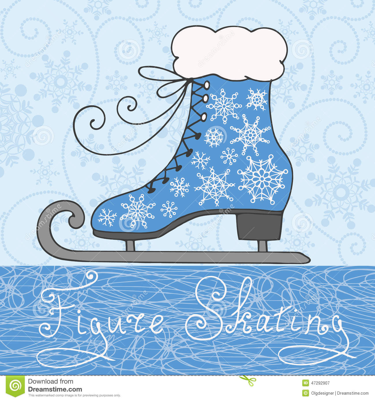 Winter background with snowflakes and ornamental retro skate ...