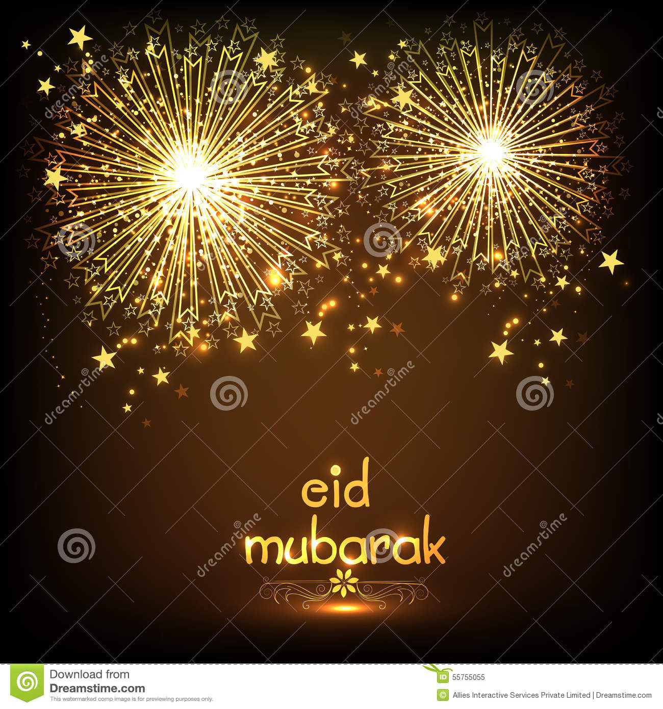 Greeting card with firecrackers for eid mubarak stock illustration greeting card with firecrackers for eid mubarak kristyandbryce Choice Image