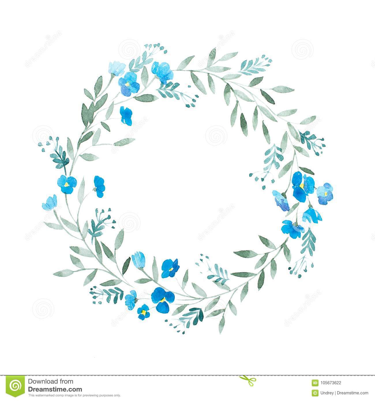 Greeting card floral frame decoration. Watercolor wreath of blue flowers isolated on white background.