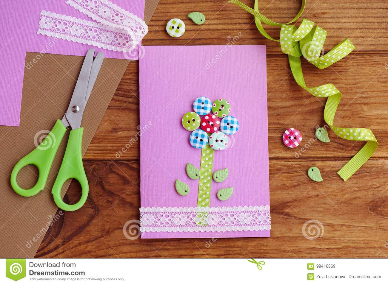 Greeting Card With A Flower Made Of Wooden Buttons Decorated With