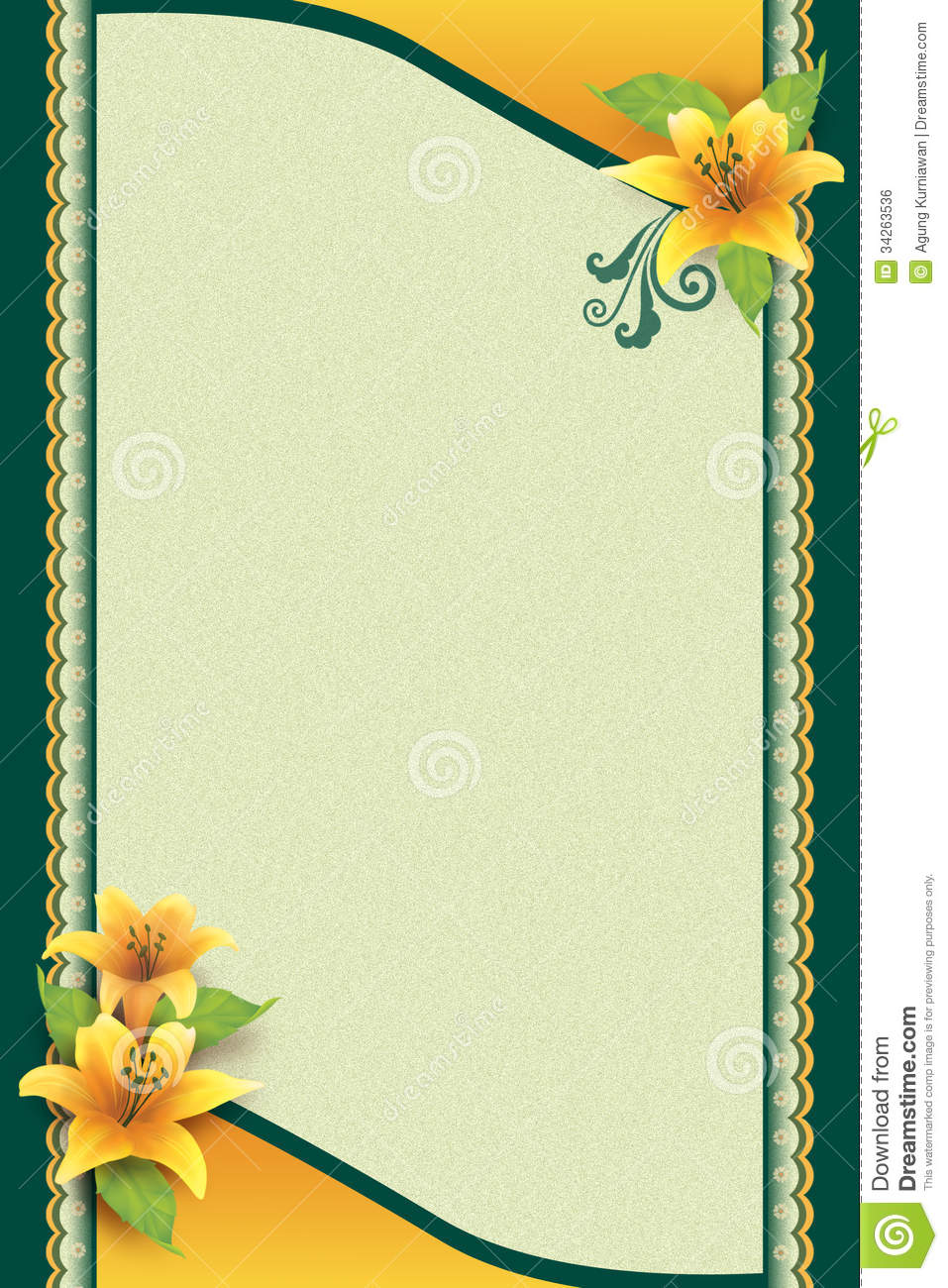 Greeting Card With Flower And Ornamental Background Stock