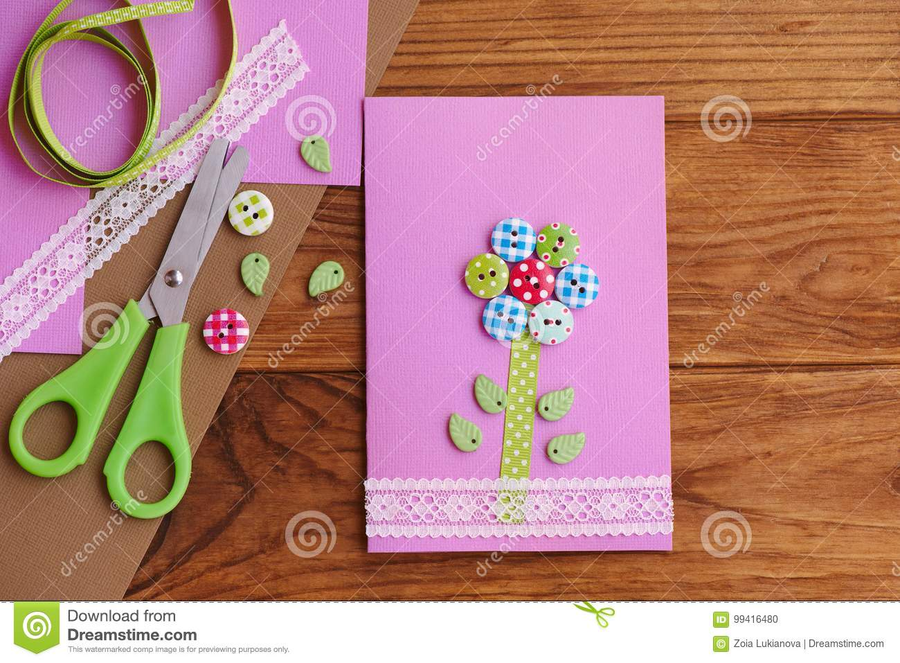 Greeting Card With A Flower From Wooden Buttons Decorated With Lace