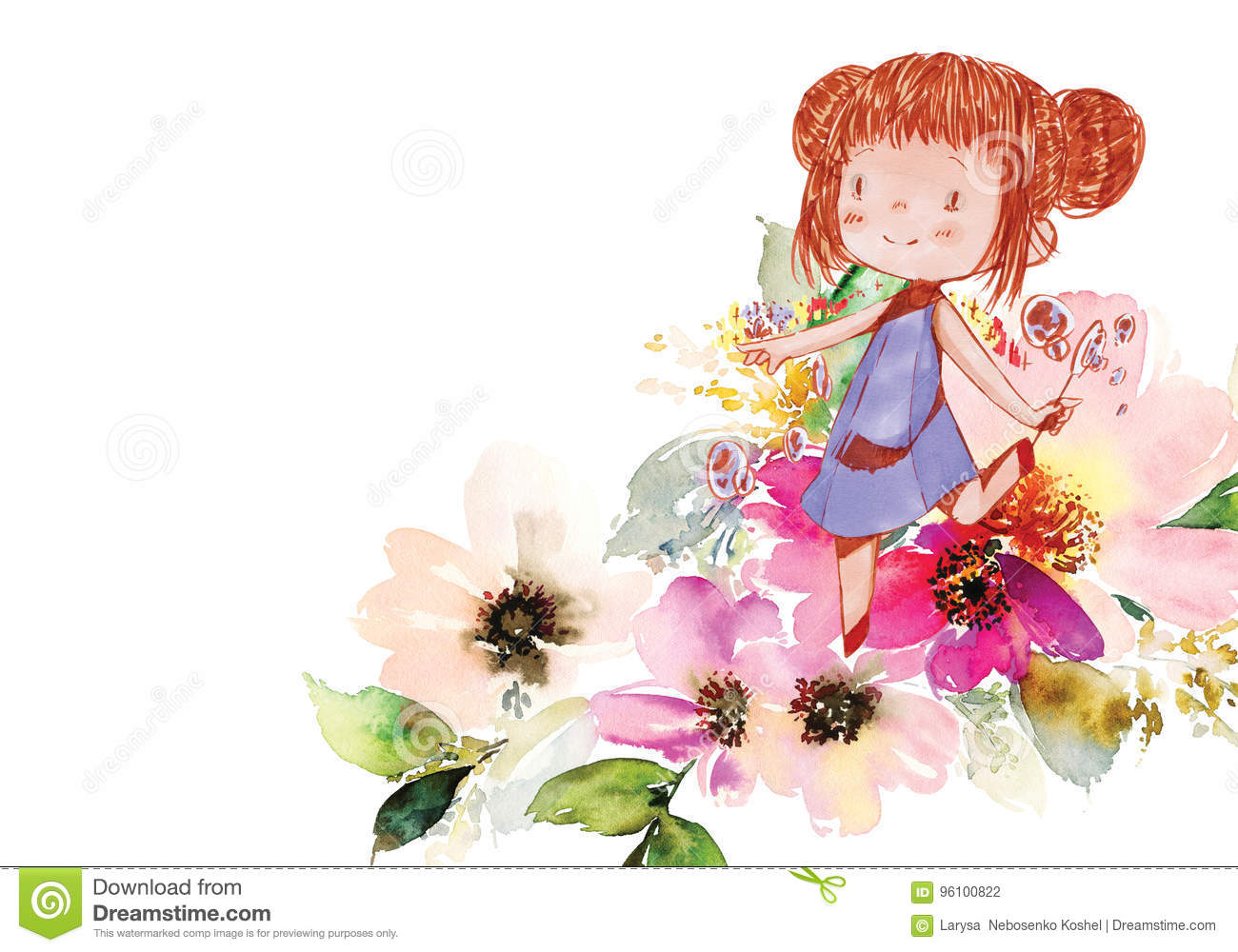 Greeting Card With Flowers Stock Illustration Illustration Of