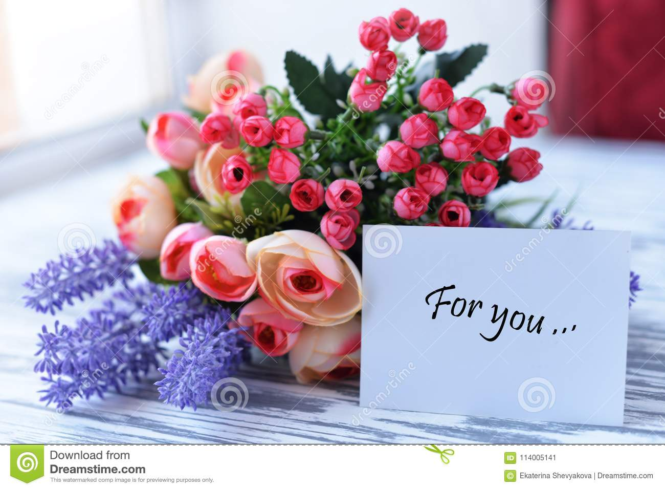 Greeting Card With Flowers Pink With Love Gift Stock Image Image
