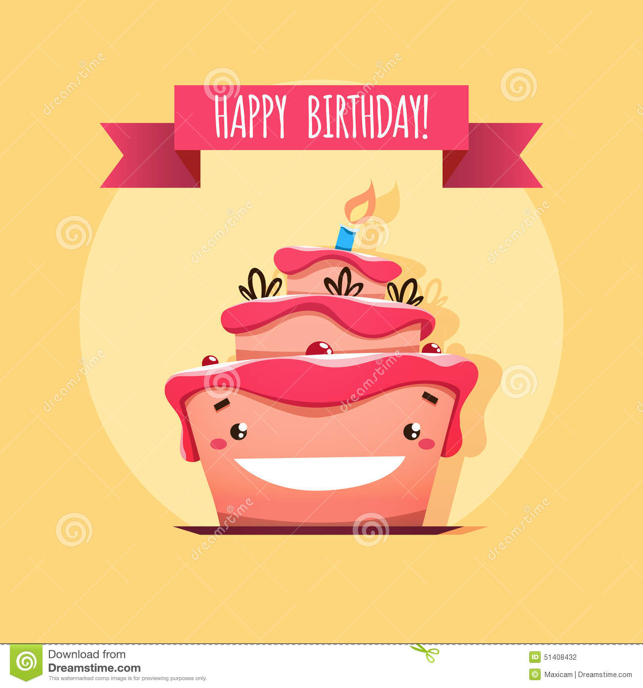 Greeting Card With Funny Birthday Cake Stock Vector - Image: 51408432