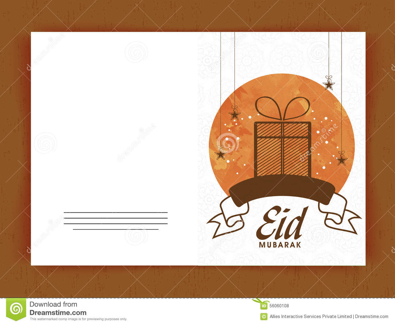 Greeting card with gift for eid mubarak celebration stock download comp m4hsunfo