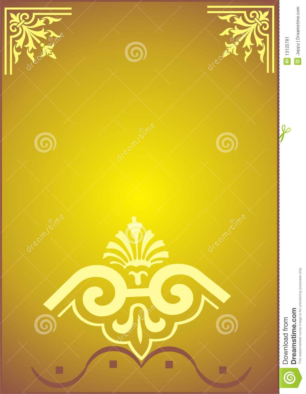 7b8c7b1a5a2 Greeting gold frame with flower borders and corners color illustration.  More similar stock illustrations