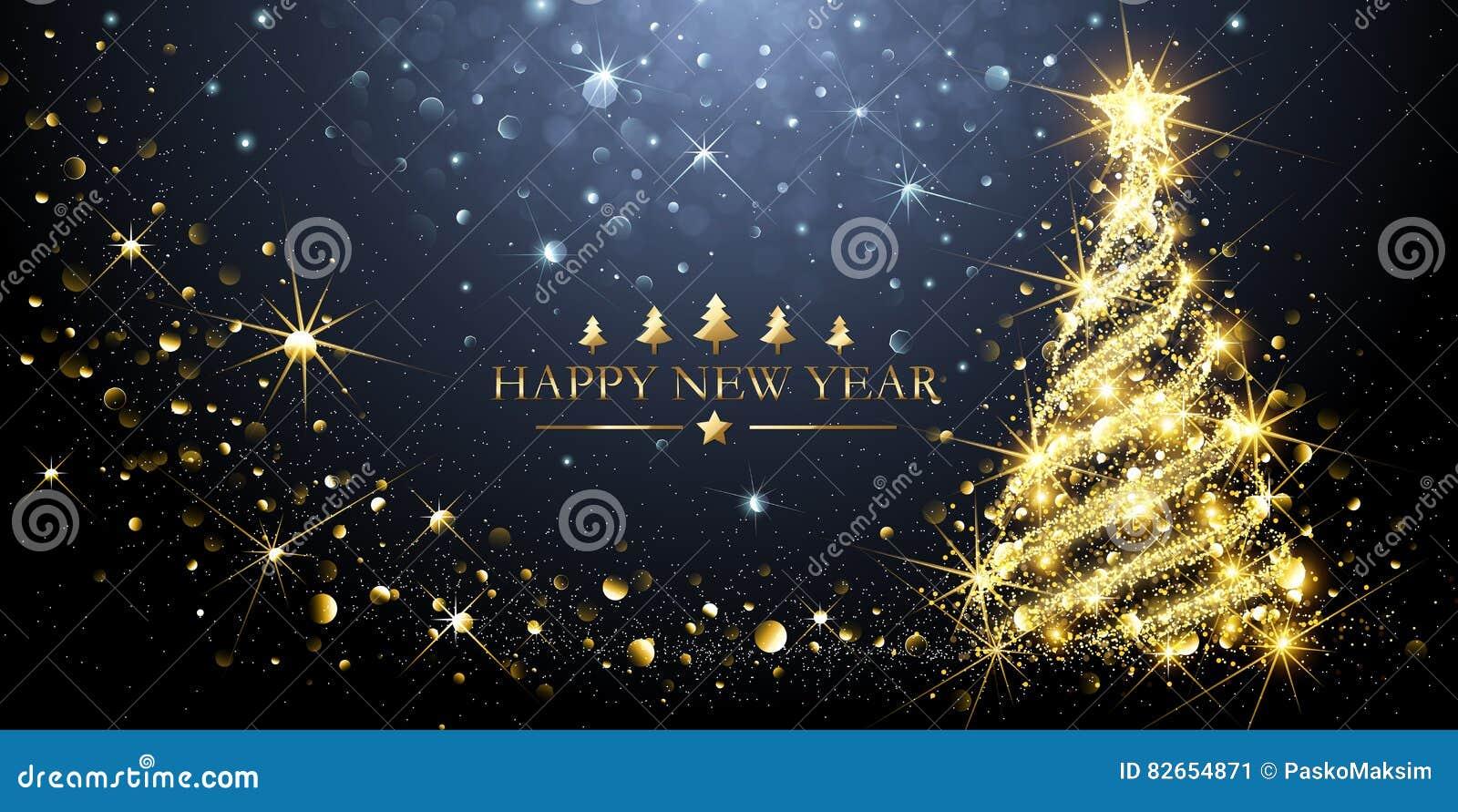 Greeting Card Golden Christmas Tree Vector Stock Vector