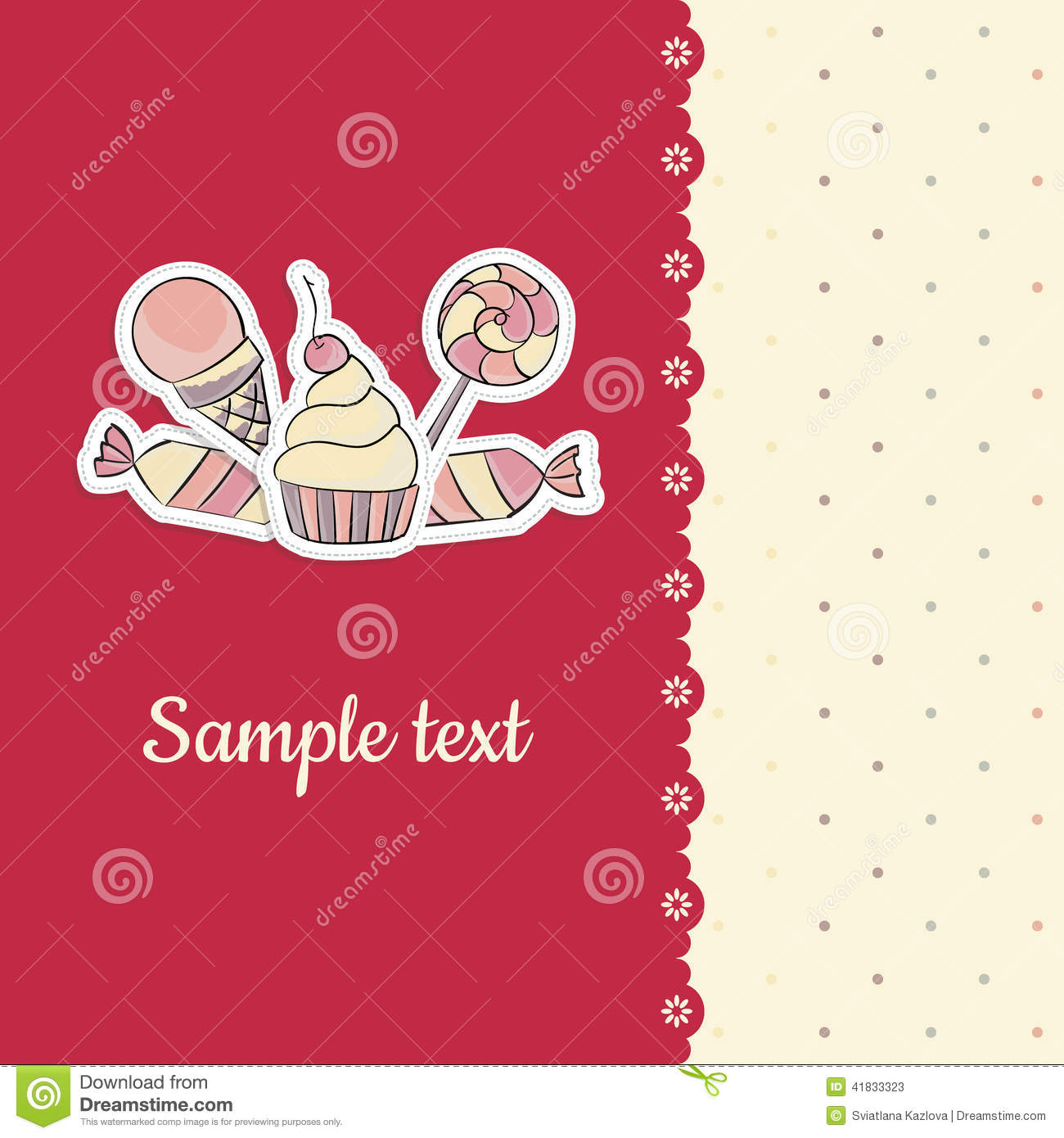 Greeting Card With Hand Drawing Candies Template Stock Vector