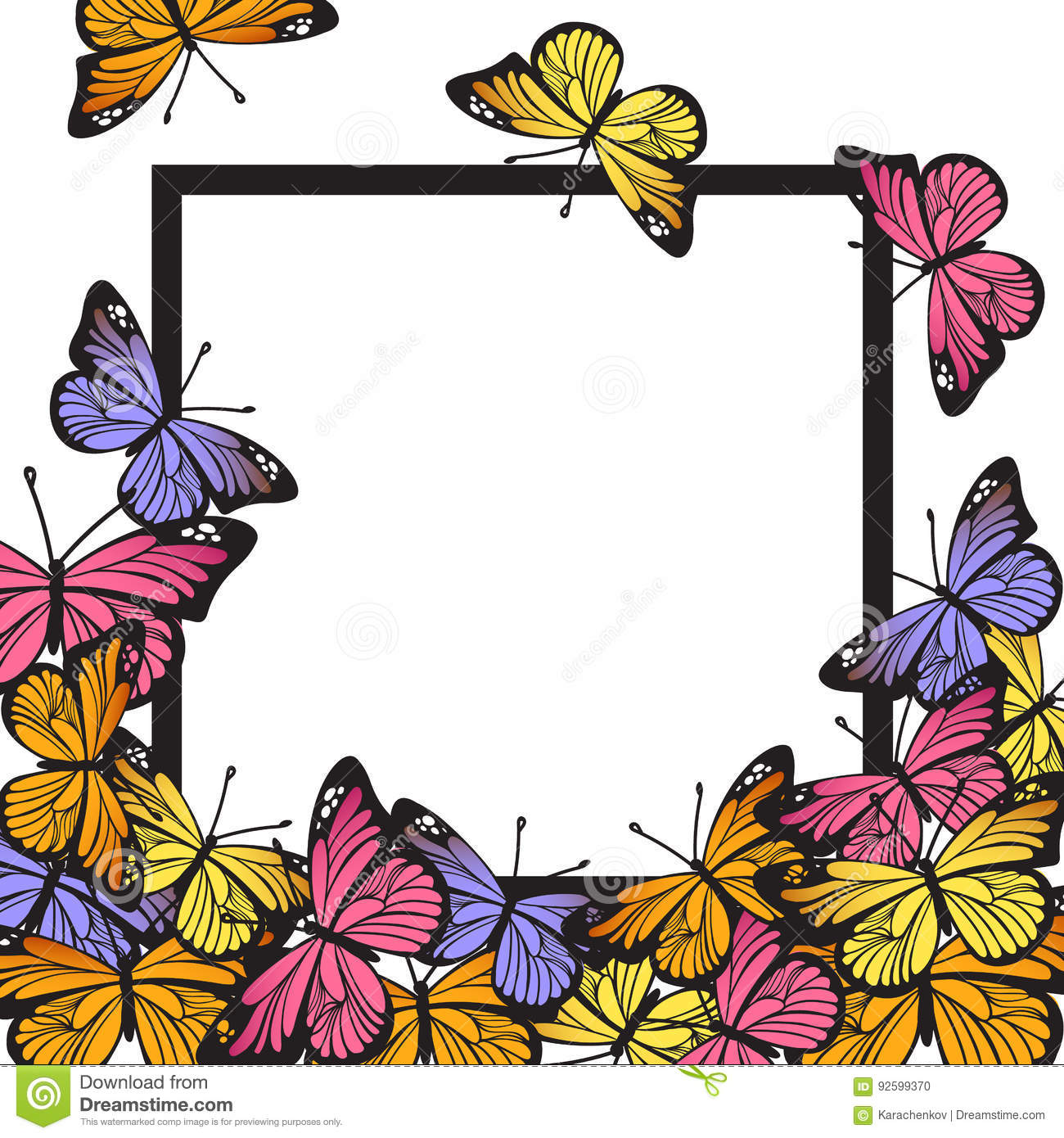 Greeting card with hand drawn butterflies and black simple frame on white background. Vector