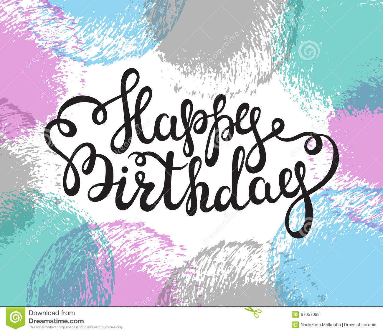 Greeting Card With Hand Lettering Happy Birthday Words Illustration