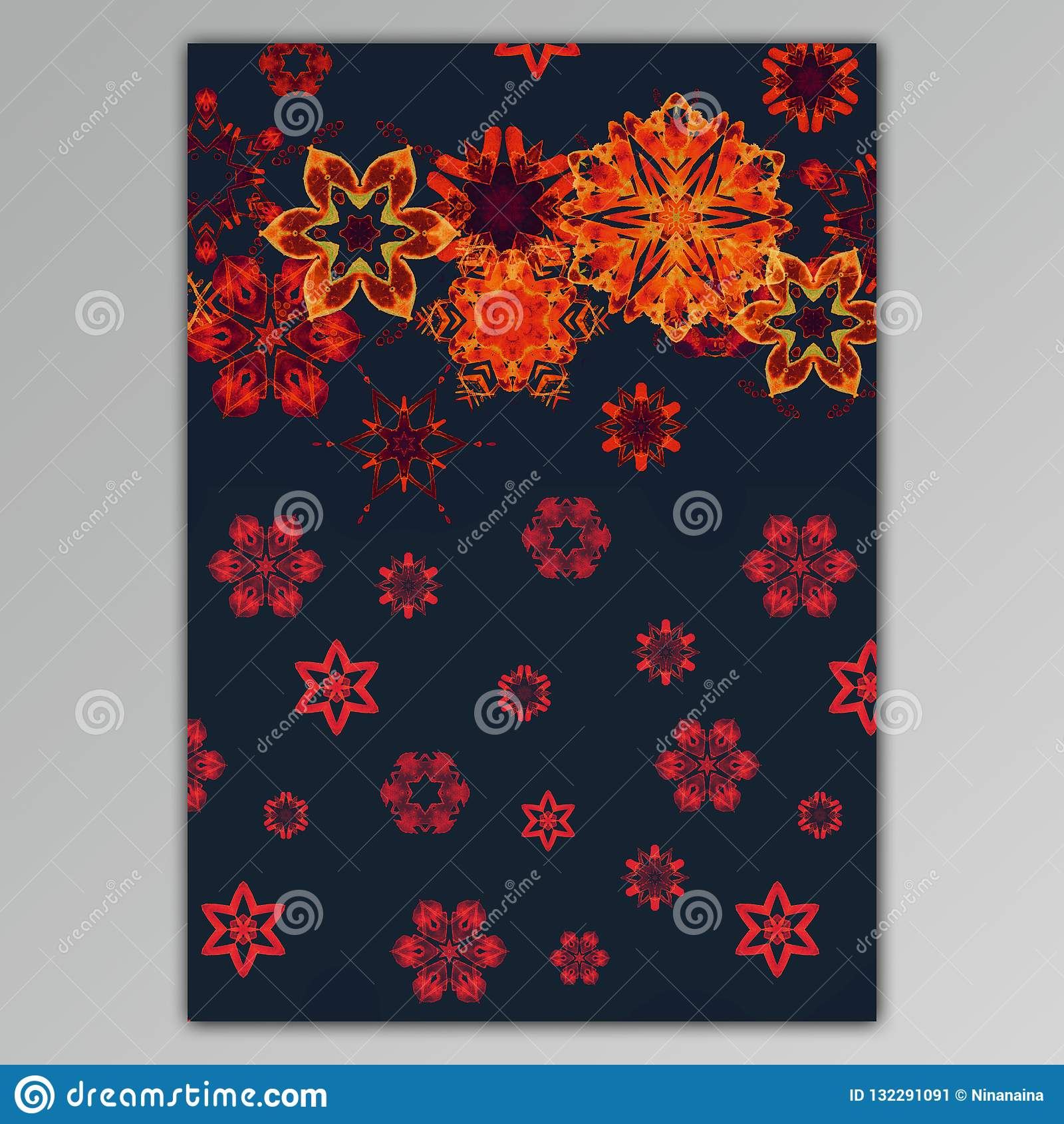 Greeting Card With Hand Paint Watercolor Snowflakes Stock Illustration Illustration Of Christmas Card 132291091