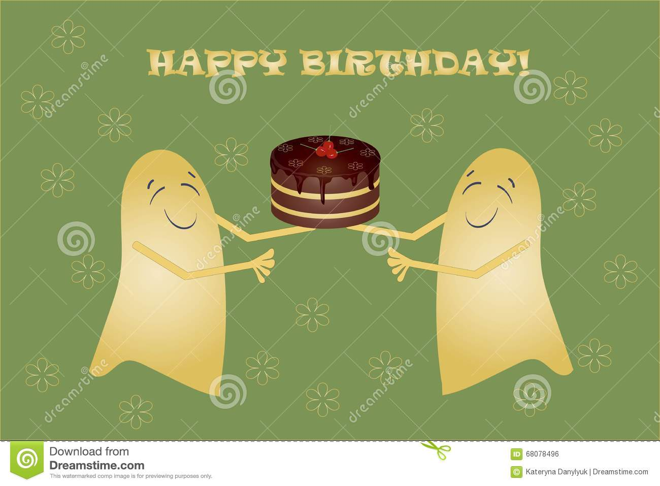 greeting card happy birthday banner two cute yellow smiling ghosts