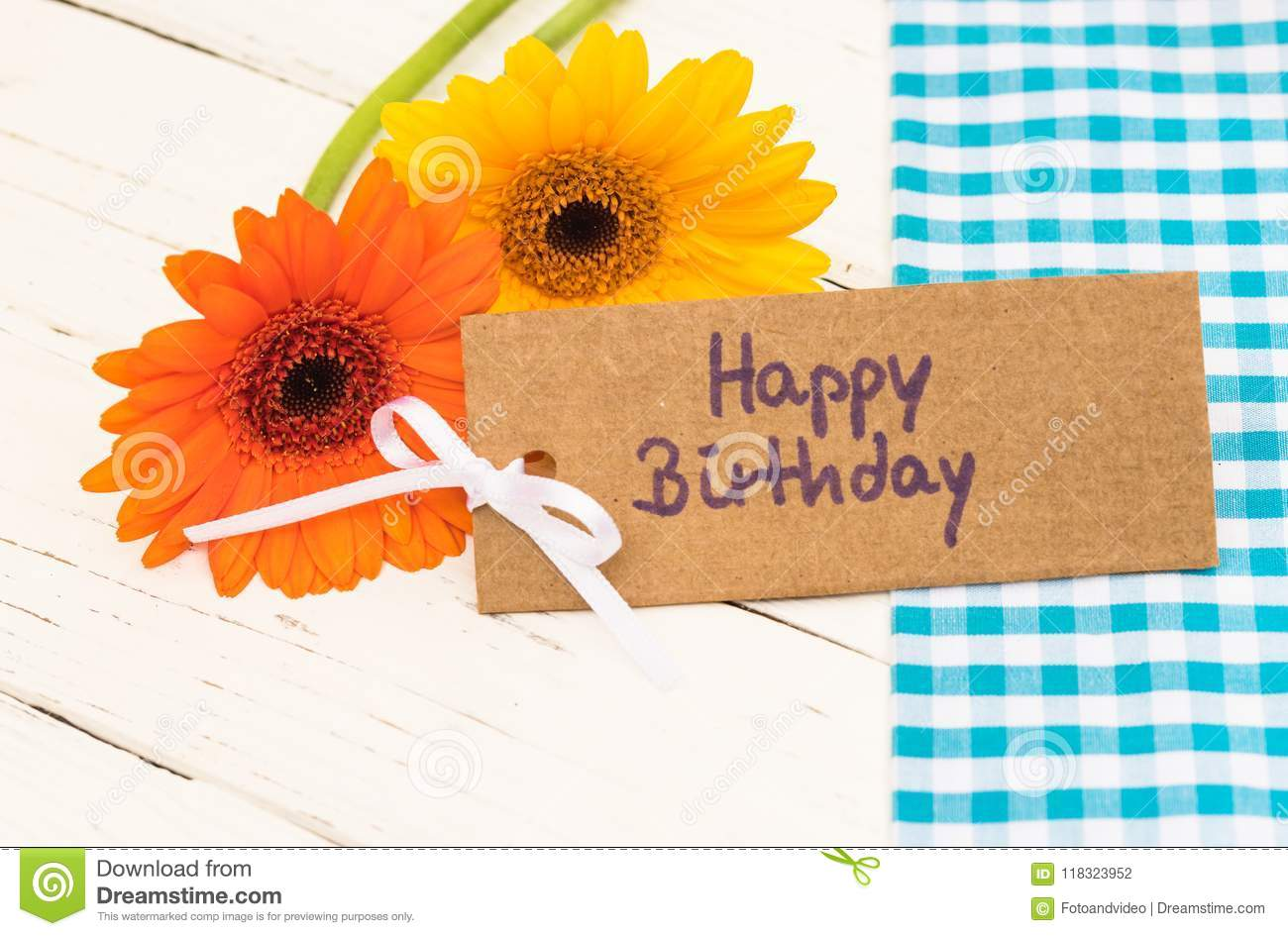 Greeting Card Happy Birthday With Beautiful Flowers Stock Photo