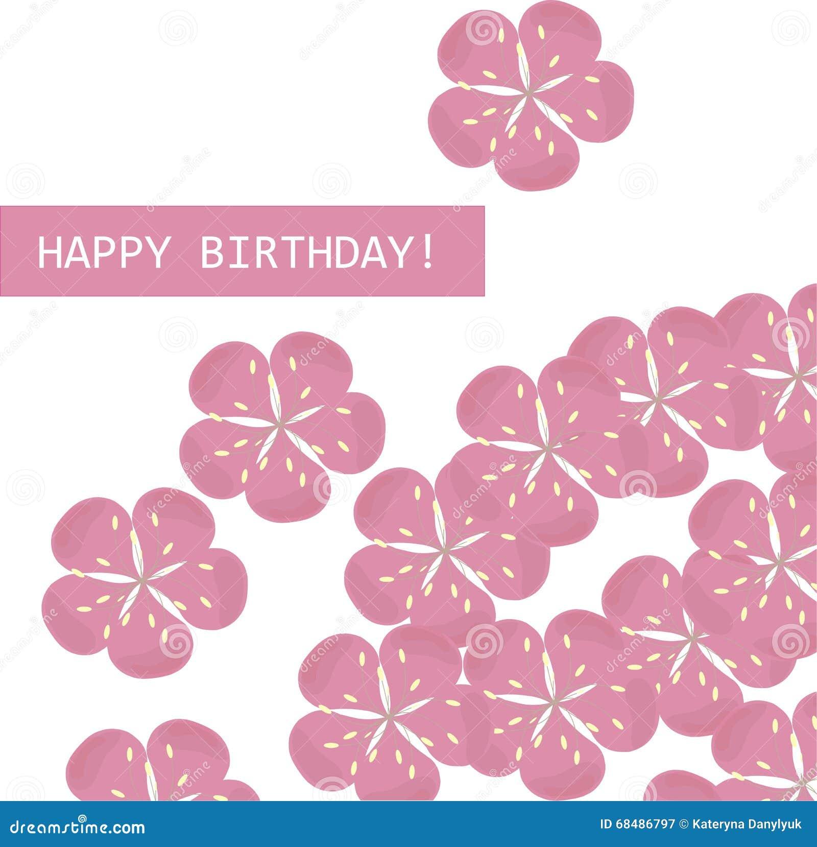 Greeting card happy birthday pink sakura flowers on white background banner birthday card flowers greeting happy pink sakura dhlflorist Images
