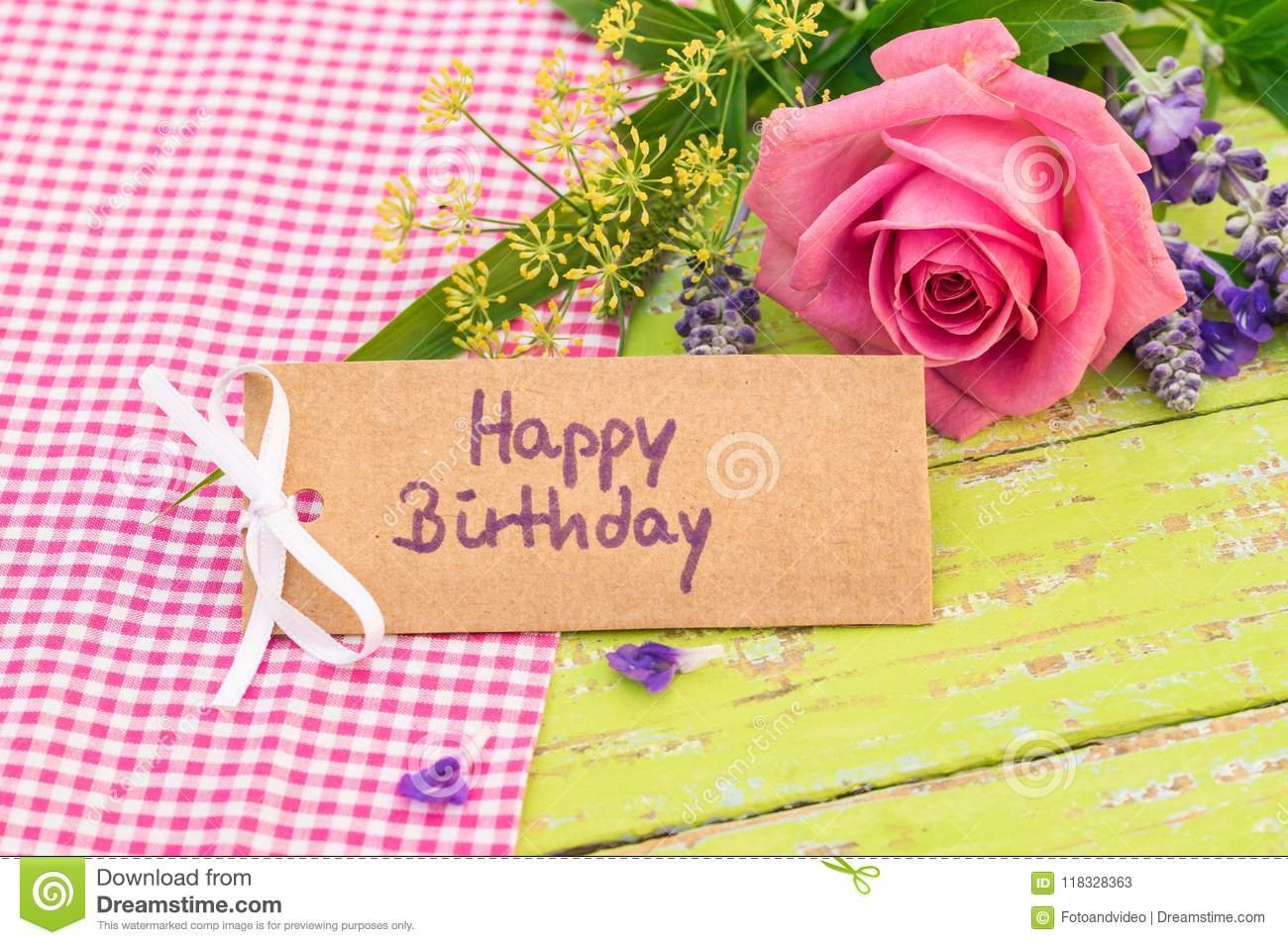 Beautiful Bunch Of Rose Flower And Happy Birthday Greeting Card On Wooden Background
