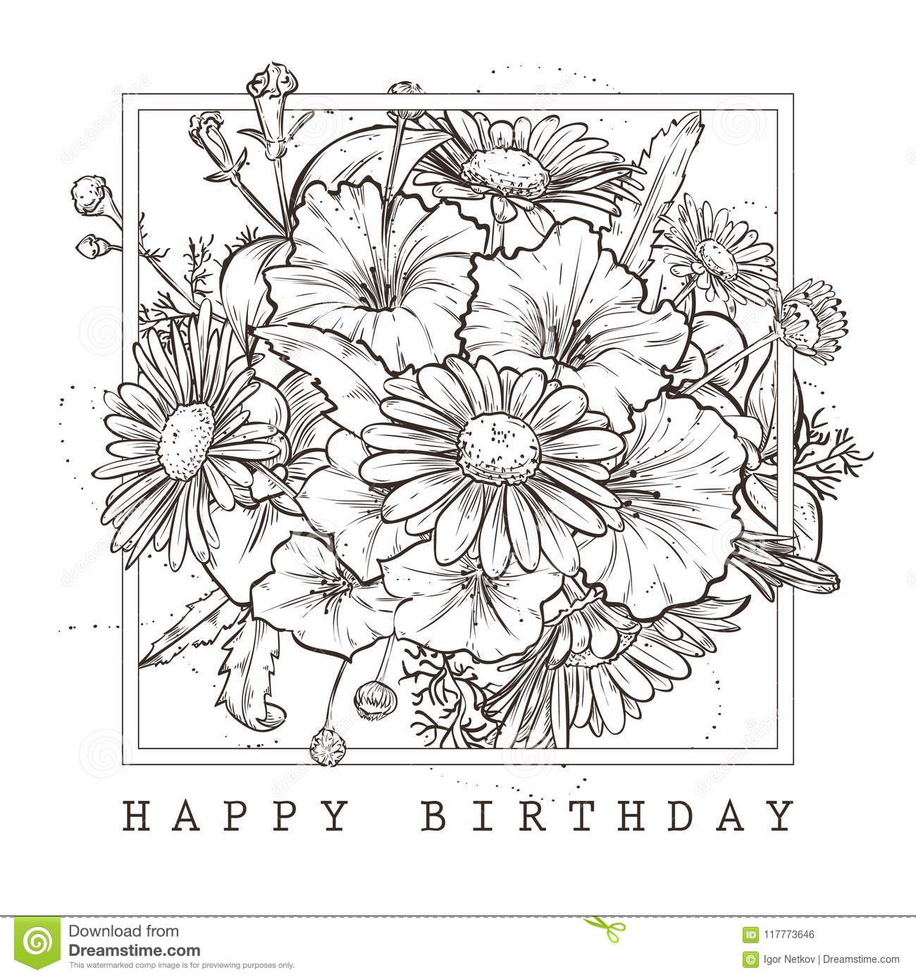 Greeting Card With Happy Birthday Wishes And A Bouquet Of Chamomile Petunia Flowers
