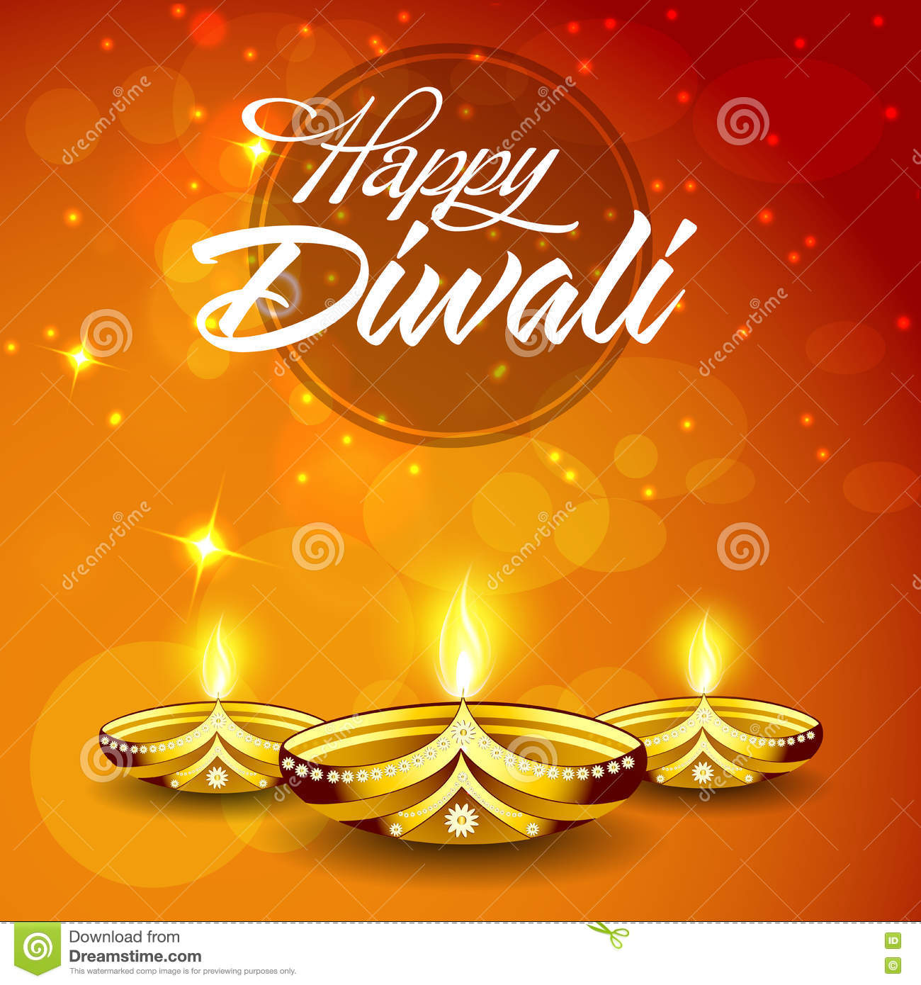 Greeting Card For Happy Diwali Celebration Stock Illustration