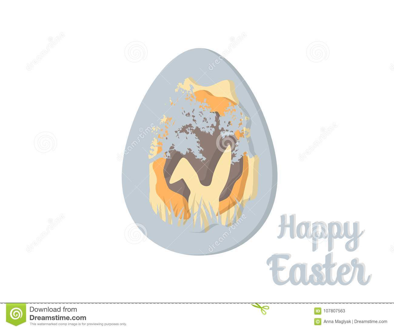 Greeting Card With Happy Easter   Easter Bunny  Easter Egg