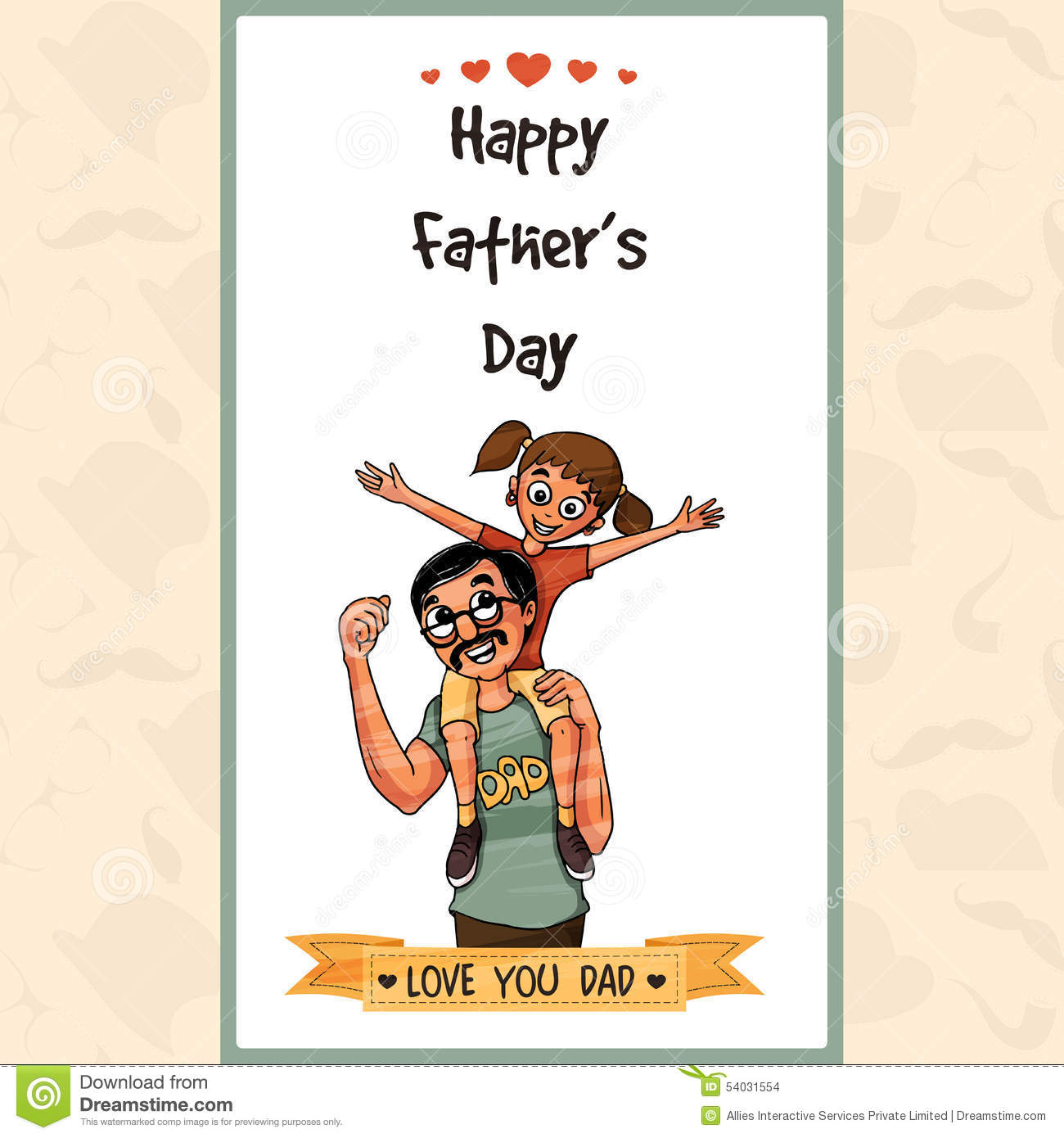 Greeting Card For Happy Fathers Day Celebration. Stock ...