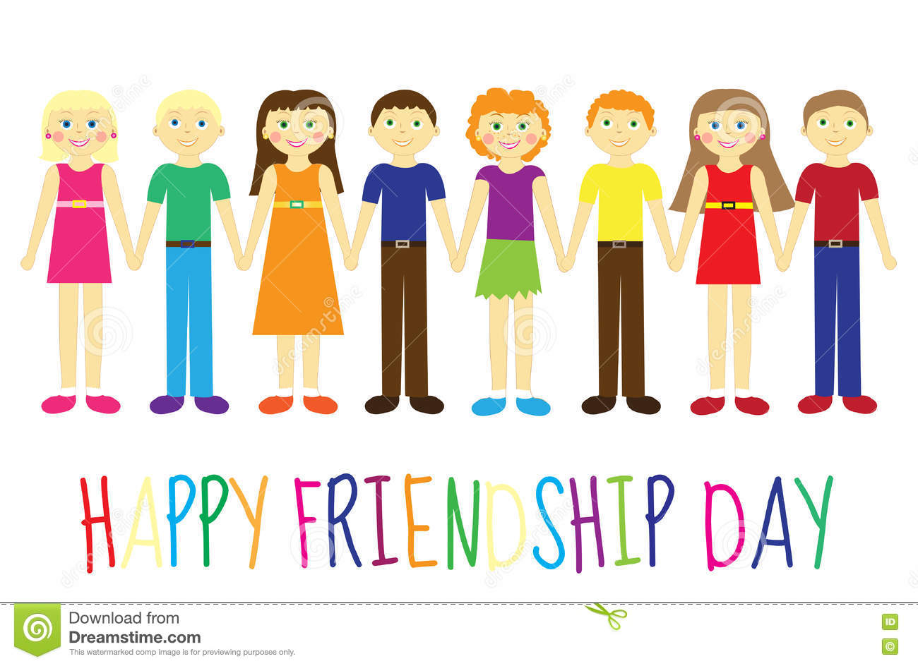 Greeting Card With A Happy Friendship Day Greeting Card Cute Kids