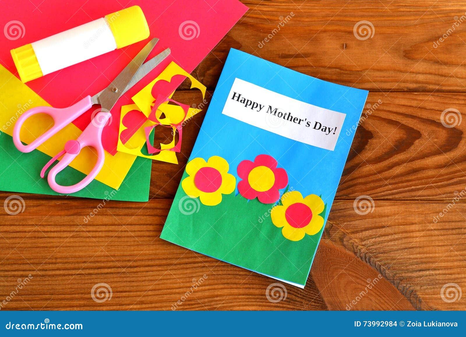 Greeting Card Happy Mother S Day Children Crafts Scissors Glue
