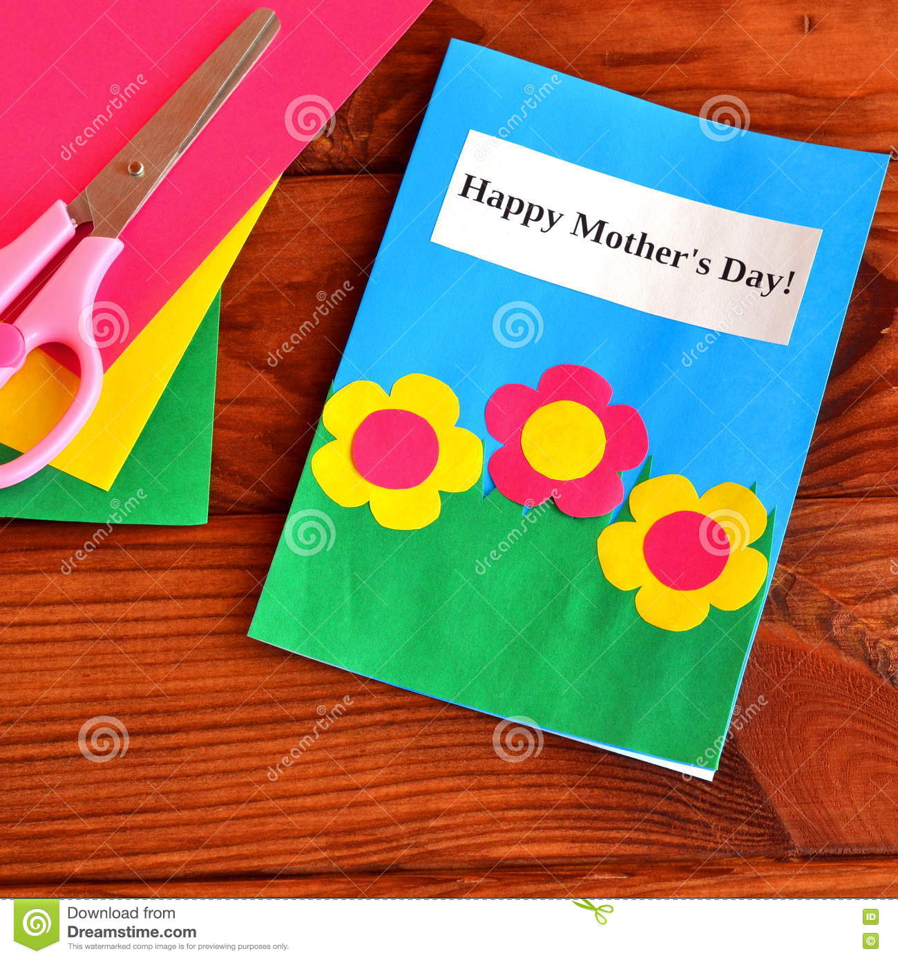 Greeting Card Happy Mother S Day Easy Children S Crafts Scissors