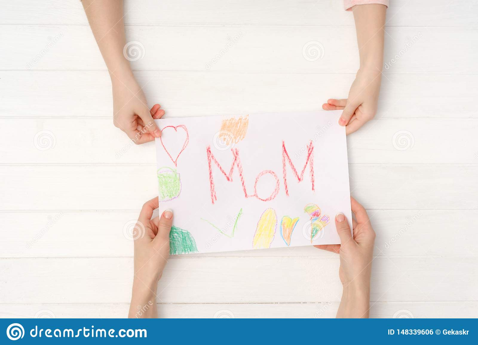Greeting Card For Happy Mother S Day Stock Photo Image Of Caucasian Drawing 148339606