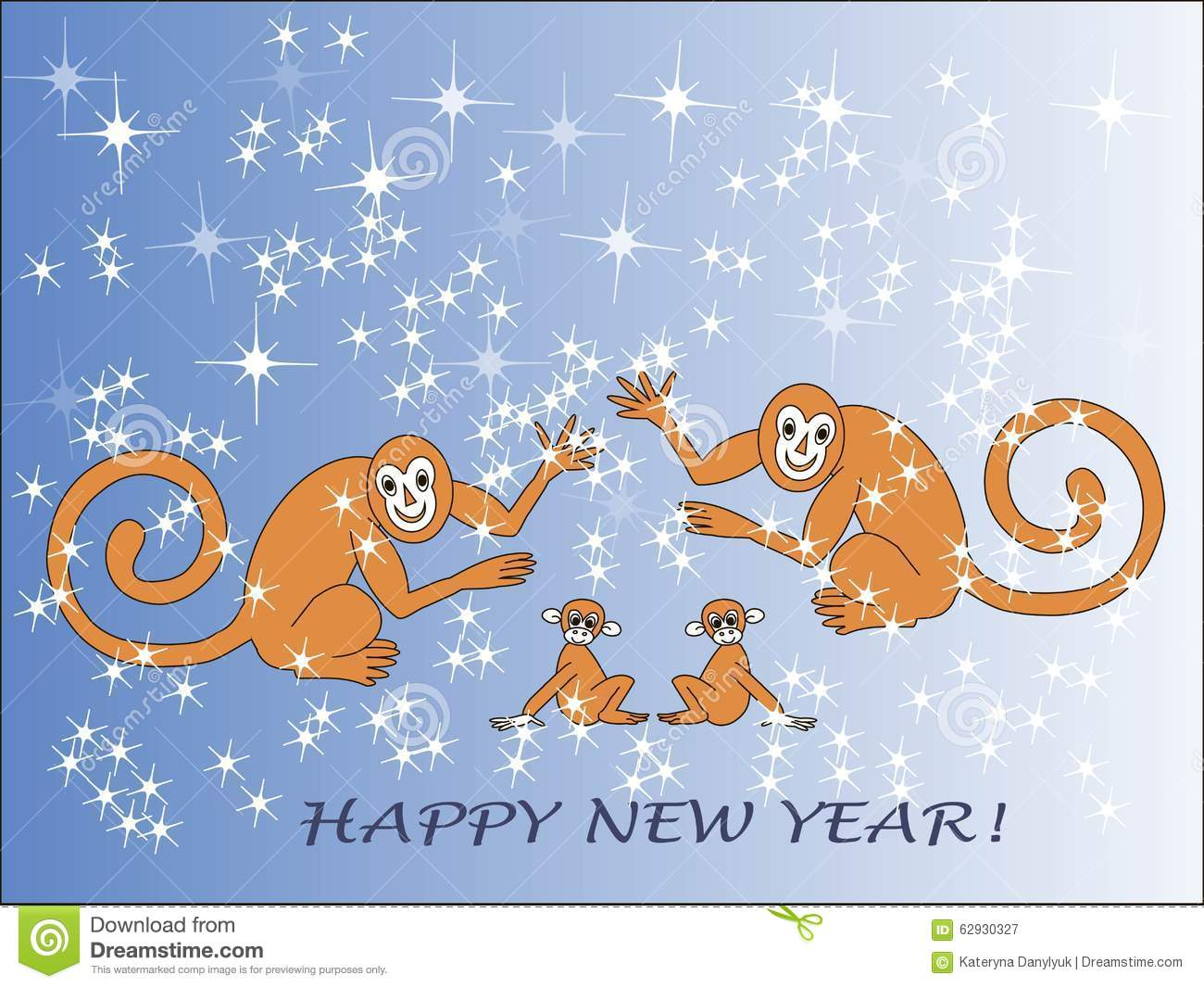 greeting card happy new year the chinese new year monkey family brown animals