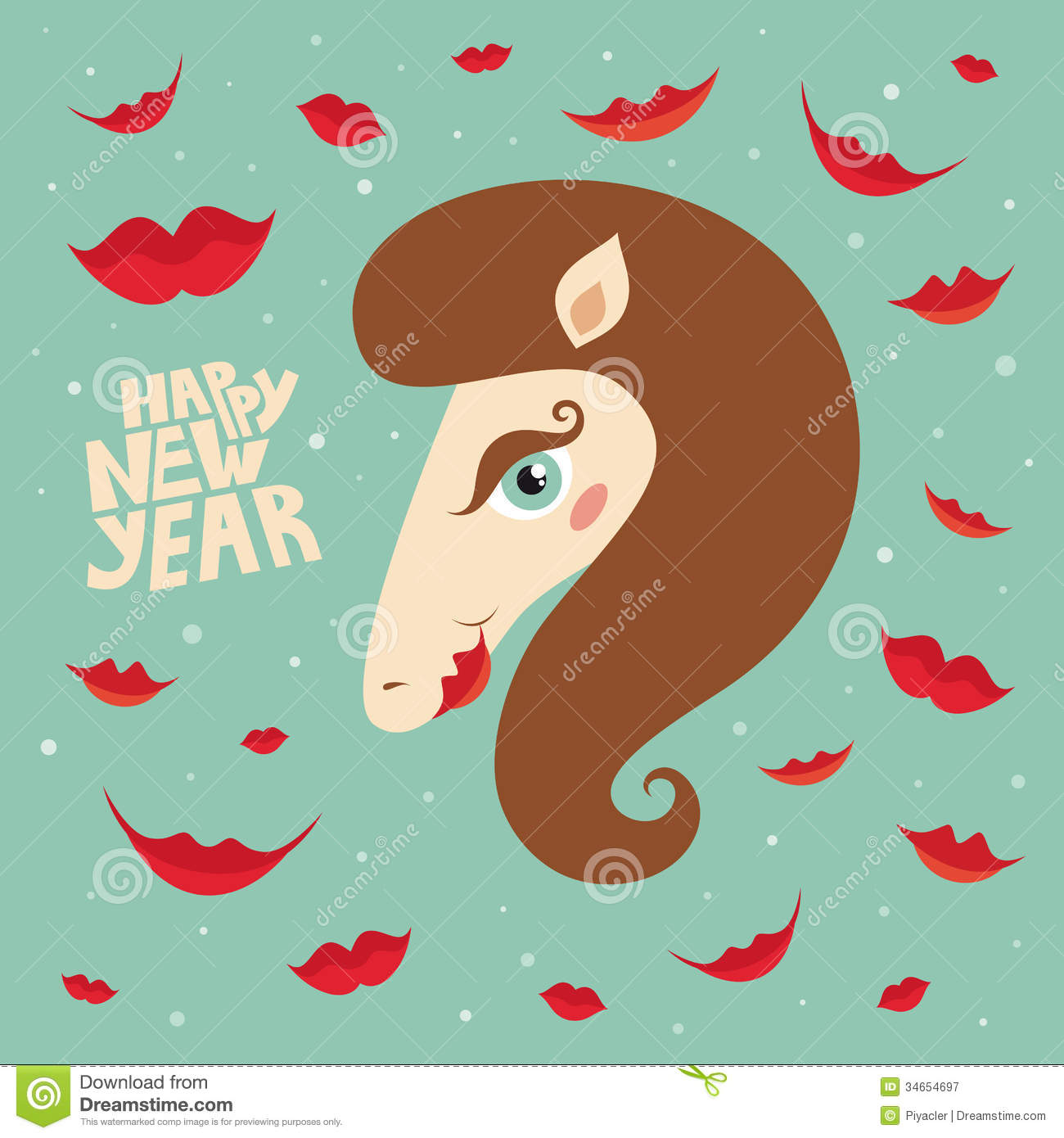 greeting card happy new year with horse