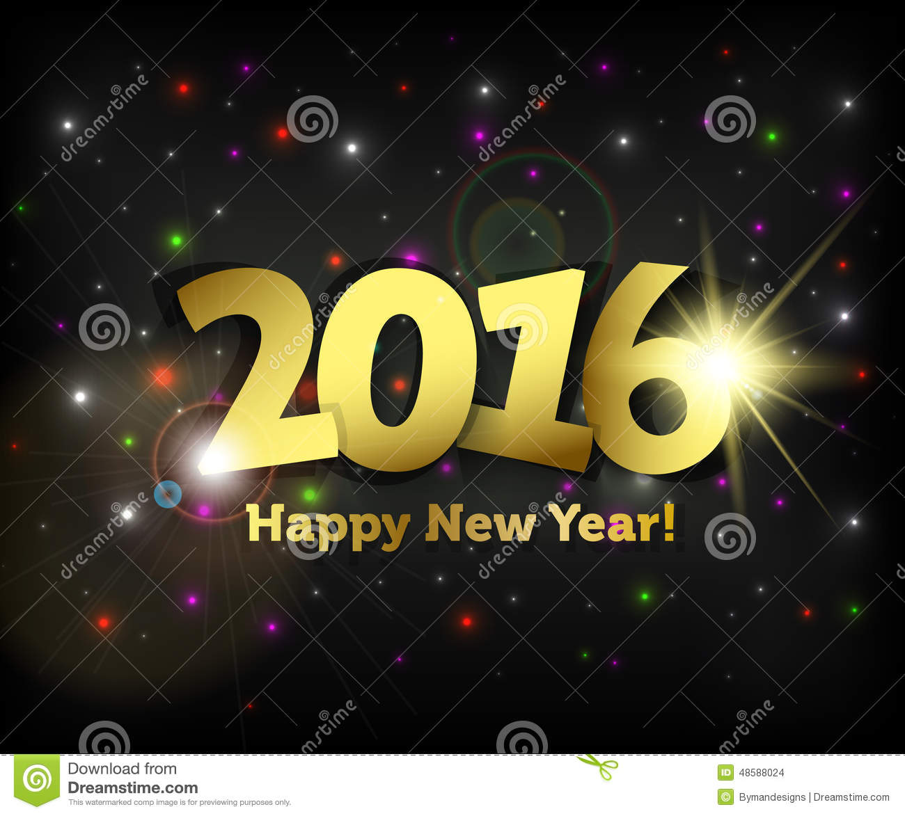 Greeting Card 2016 Happy New Year Stock Vector Illustration Of