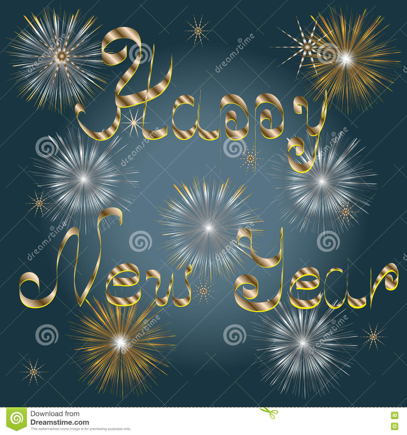 Greeting Card With A Happy New Year Stock Vector Illustration Of