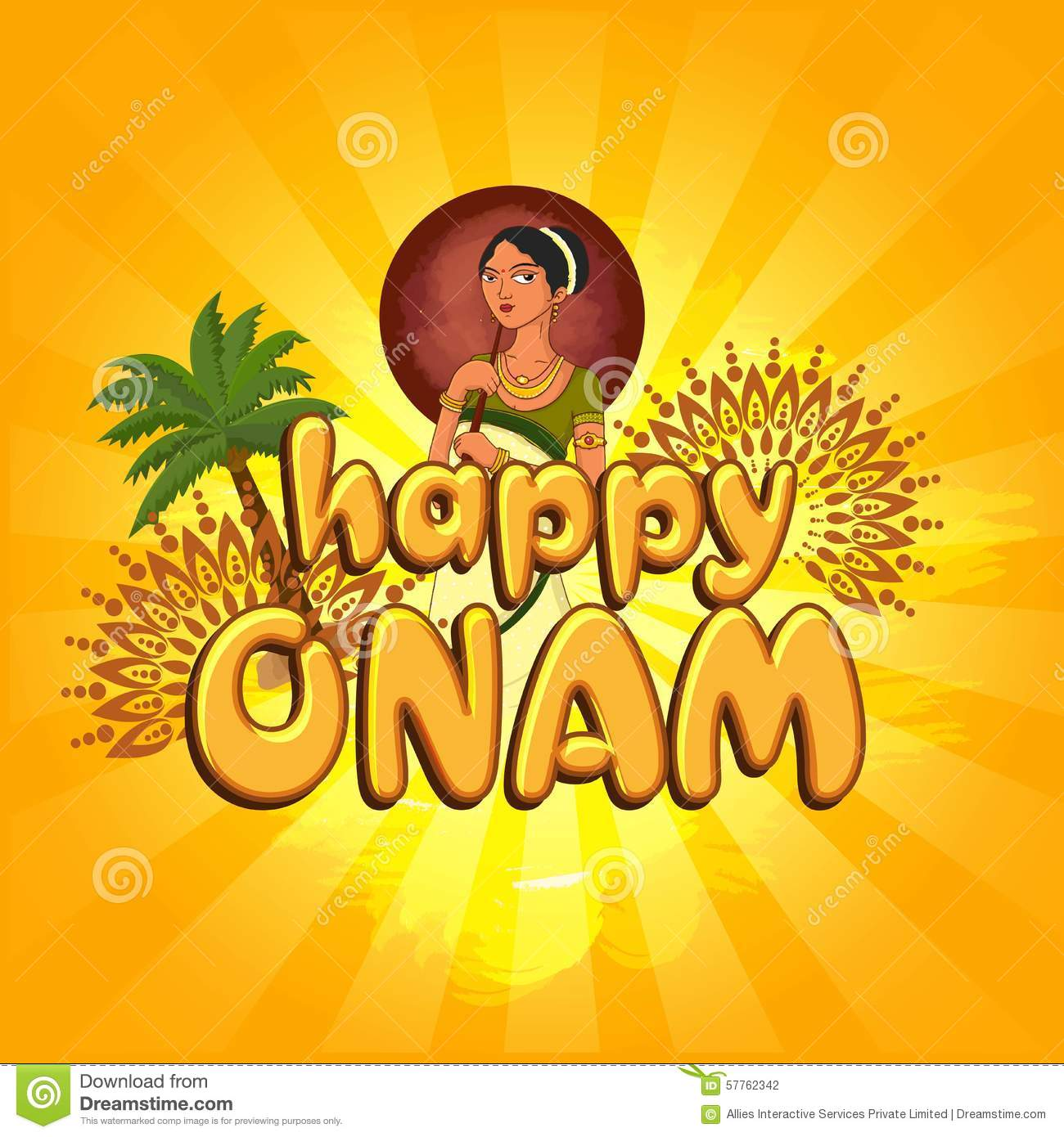 Greeting Card For Happy Onam Celebration Illustration 57762342