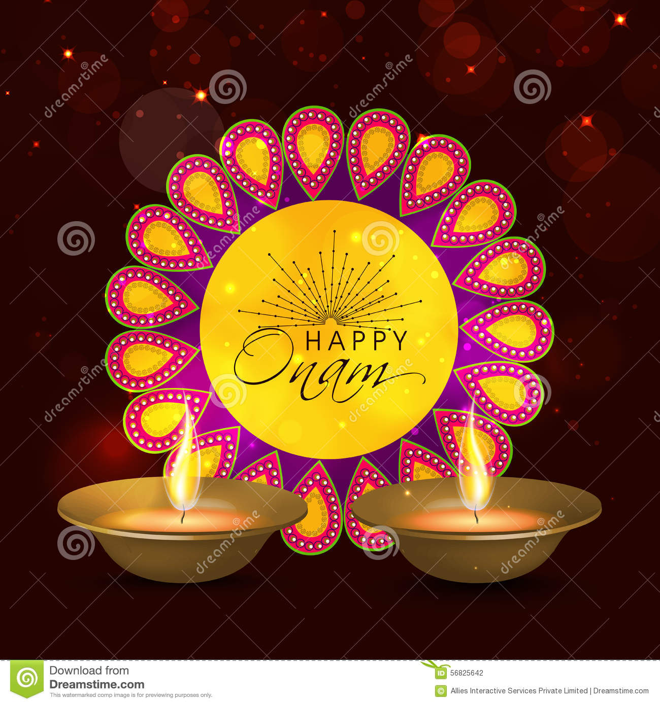 Greeting Card For Happy Onam Celebration Illustration 56825642