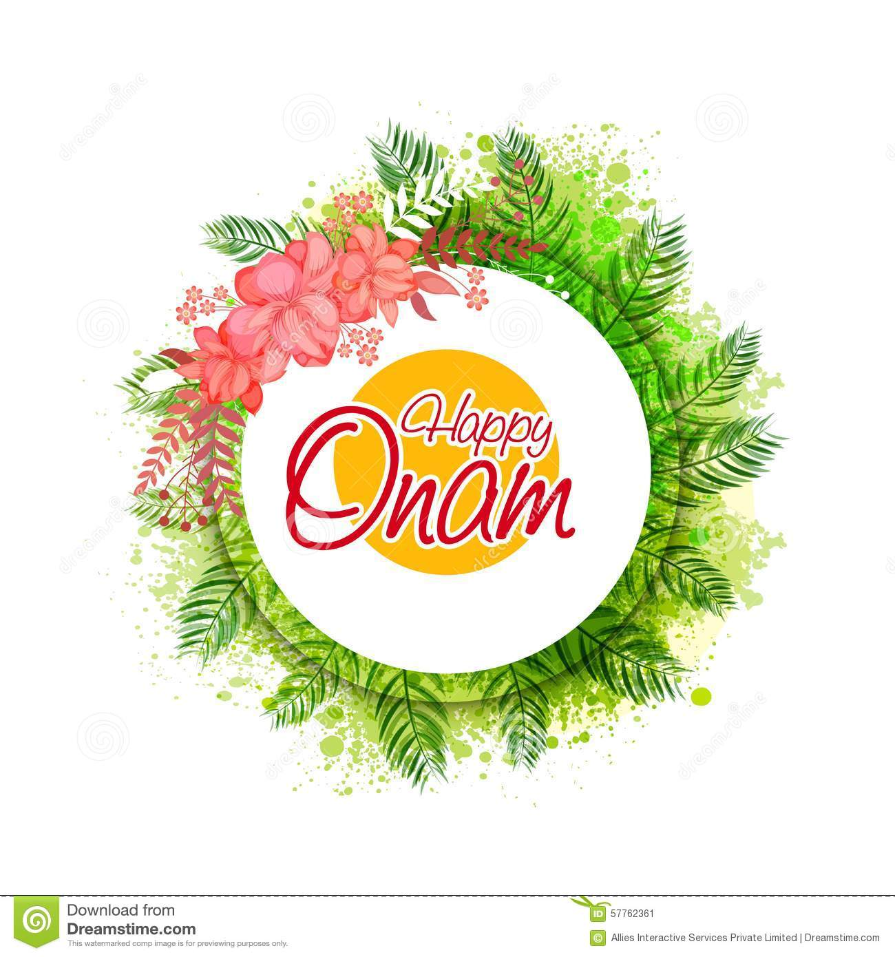 Greeting Card For Happy Onam Celebration Stock Illustration