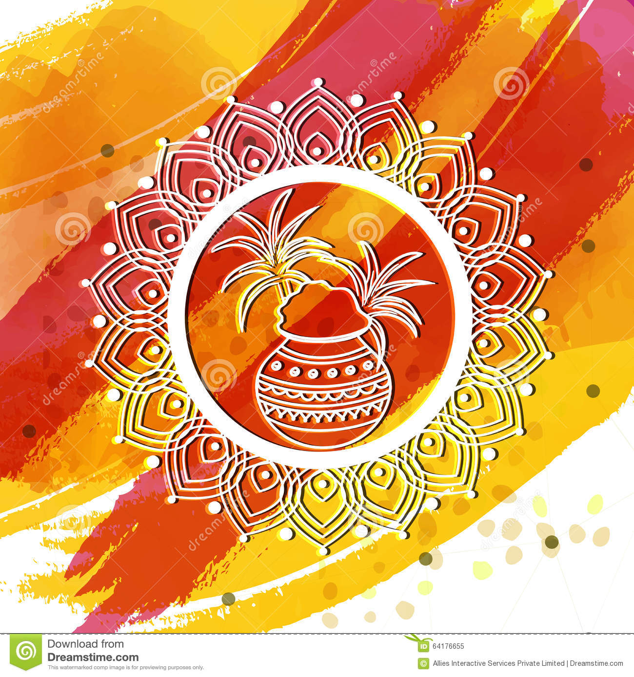 Greeting Card For Happy Pongal Celebration Stock Illustration