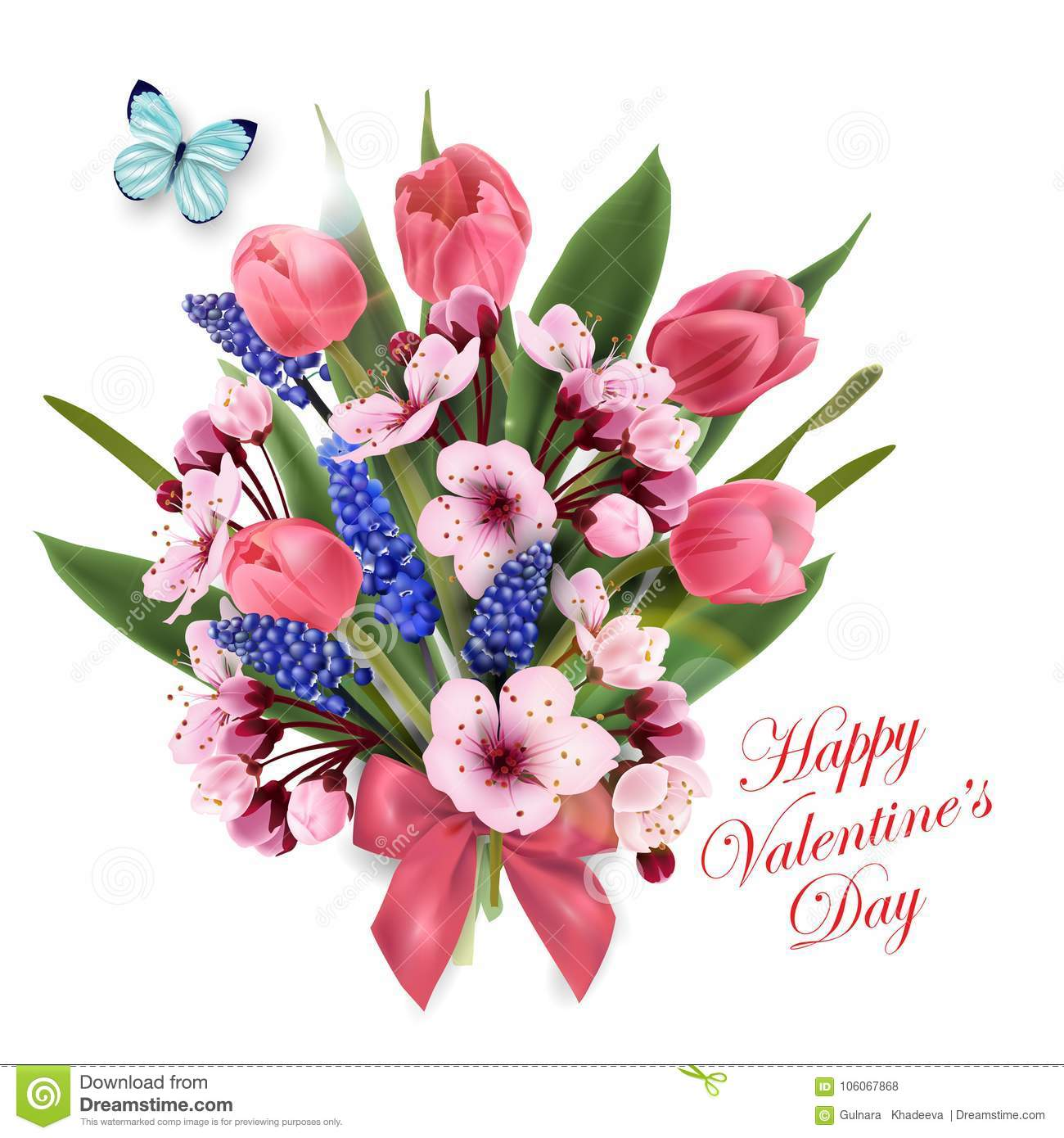 Greeting Card Happy Valentines Day With A Bouquet Of Pink Stock