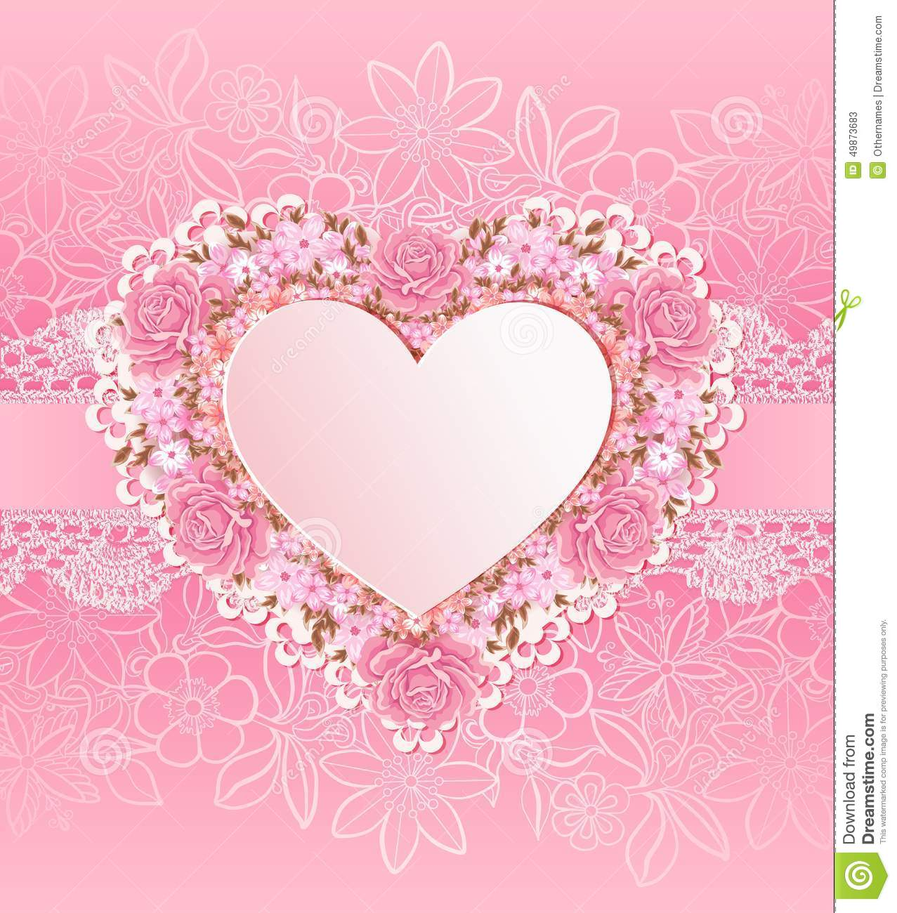 Greeting Card With Heart Shape. Flowers Stock Vector - Illustration ...