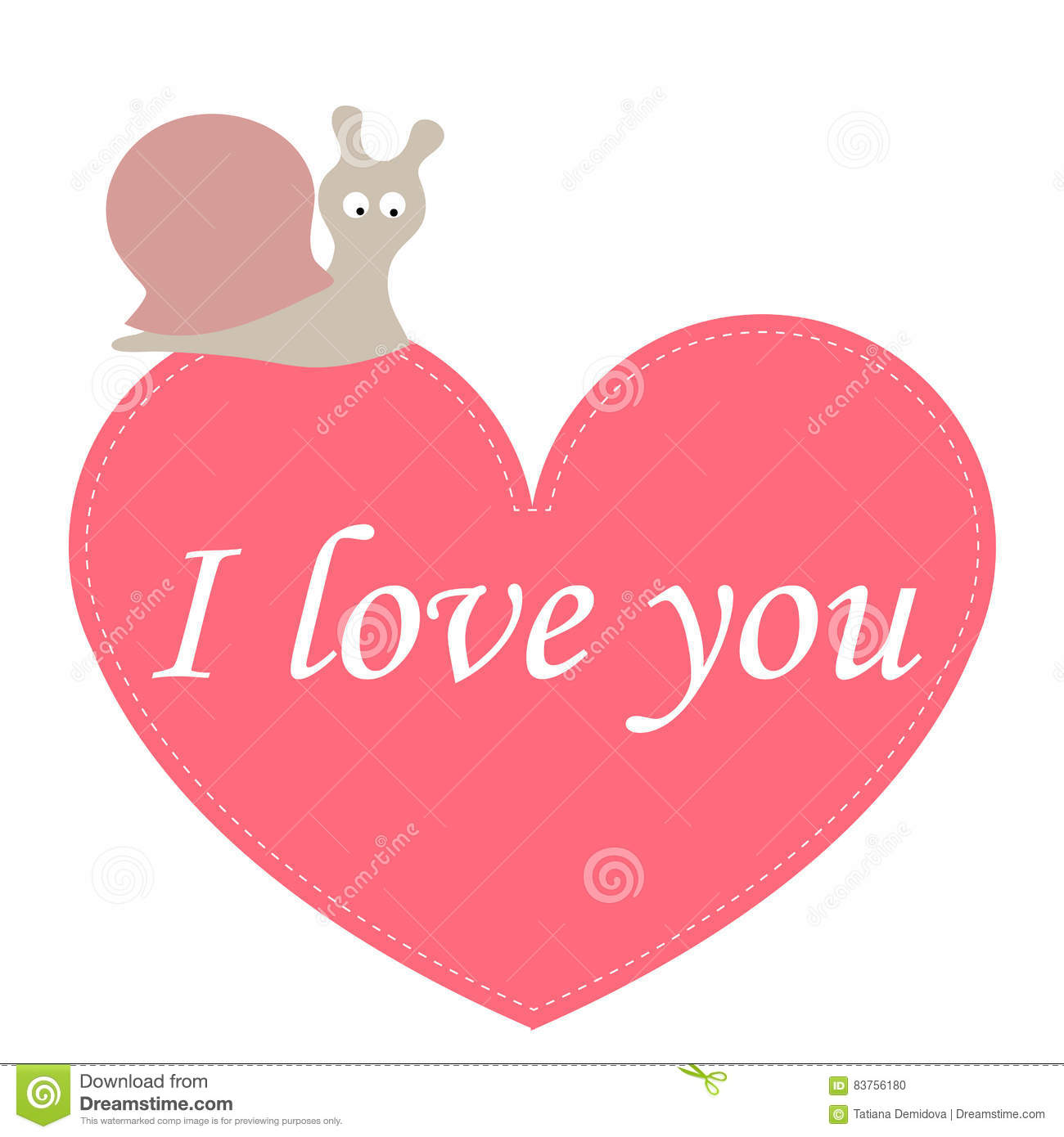 Greeting Card I Love You With A Heart And A Cute Snail Template