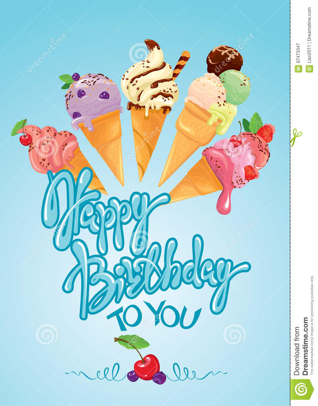 Fine Greeting Card With Ice Cream Cones On Blue Background Birthday Cards Printable Benkemecafe Filternl