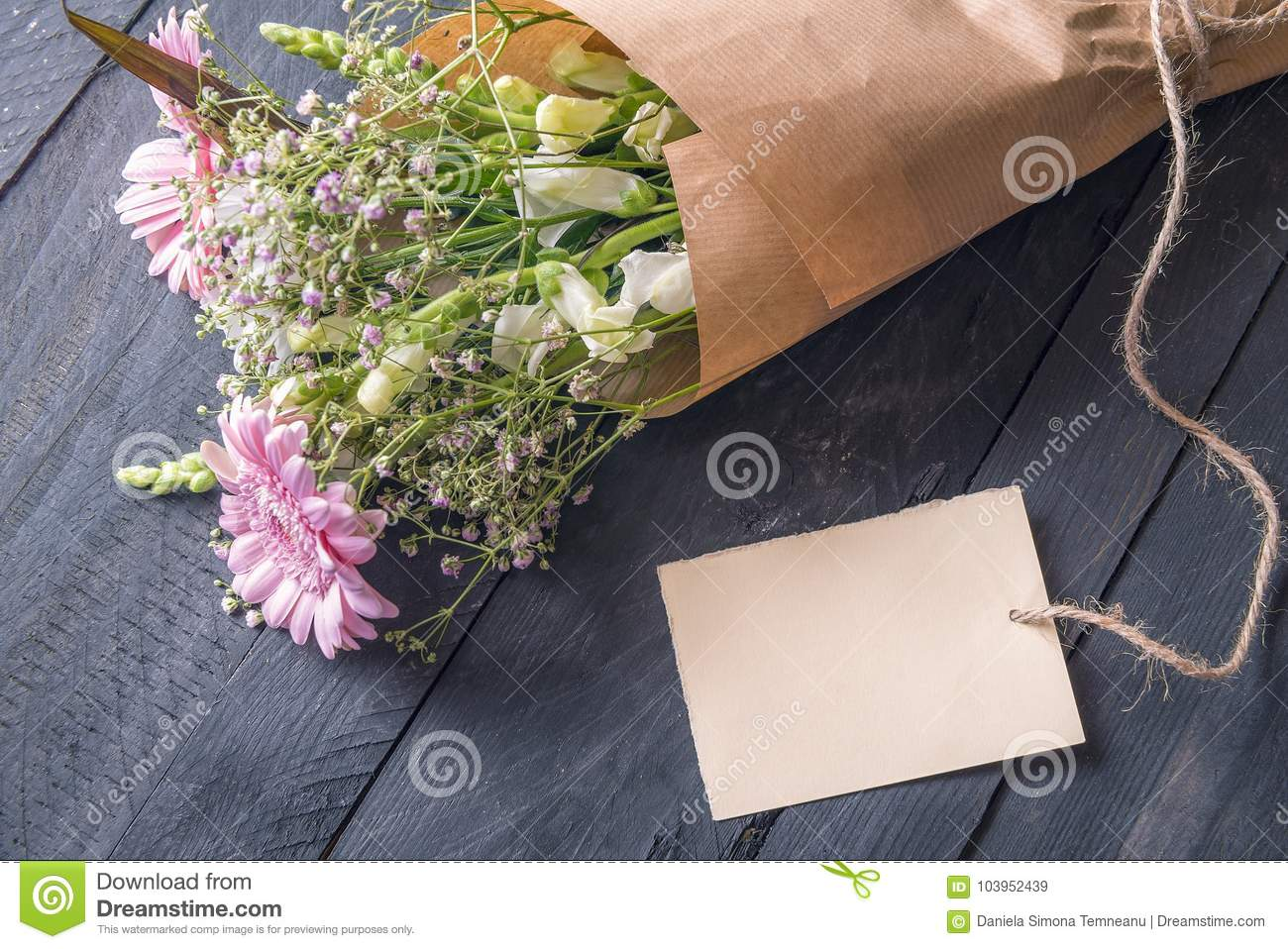 Message Card And A Bouquet Of Flowers Stock Image Image Of