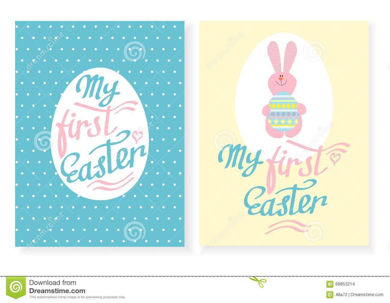 greeting card with the inscription my first easter stock vector